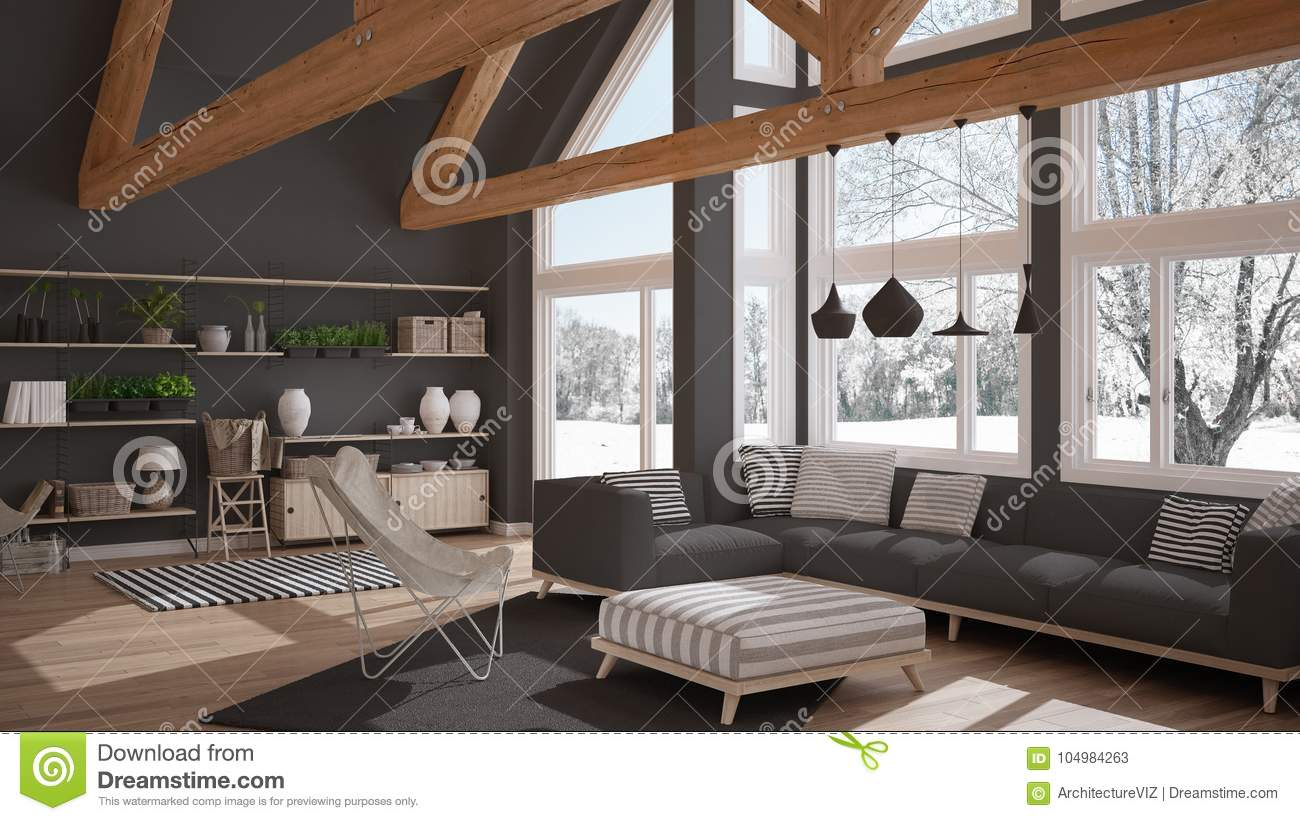 Living Room Of Luxury Eco House Parquet Floor And Wooden Roof T Stock Illustration Illustration Of Ceiling Bright 104984263