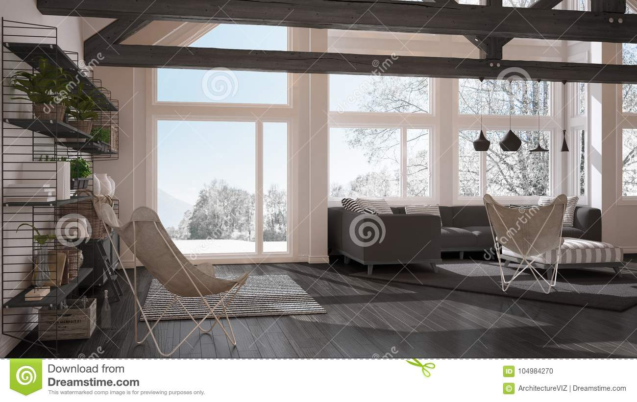 Living Room Of Luxury Eco House Parquet Floor And Wooden Roof T Stock Illustration Illustration Of Ceiling Empty 104984270