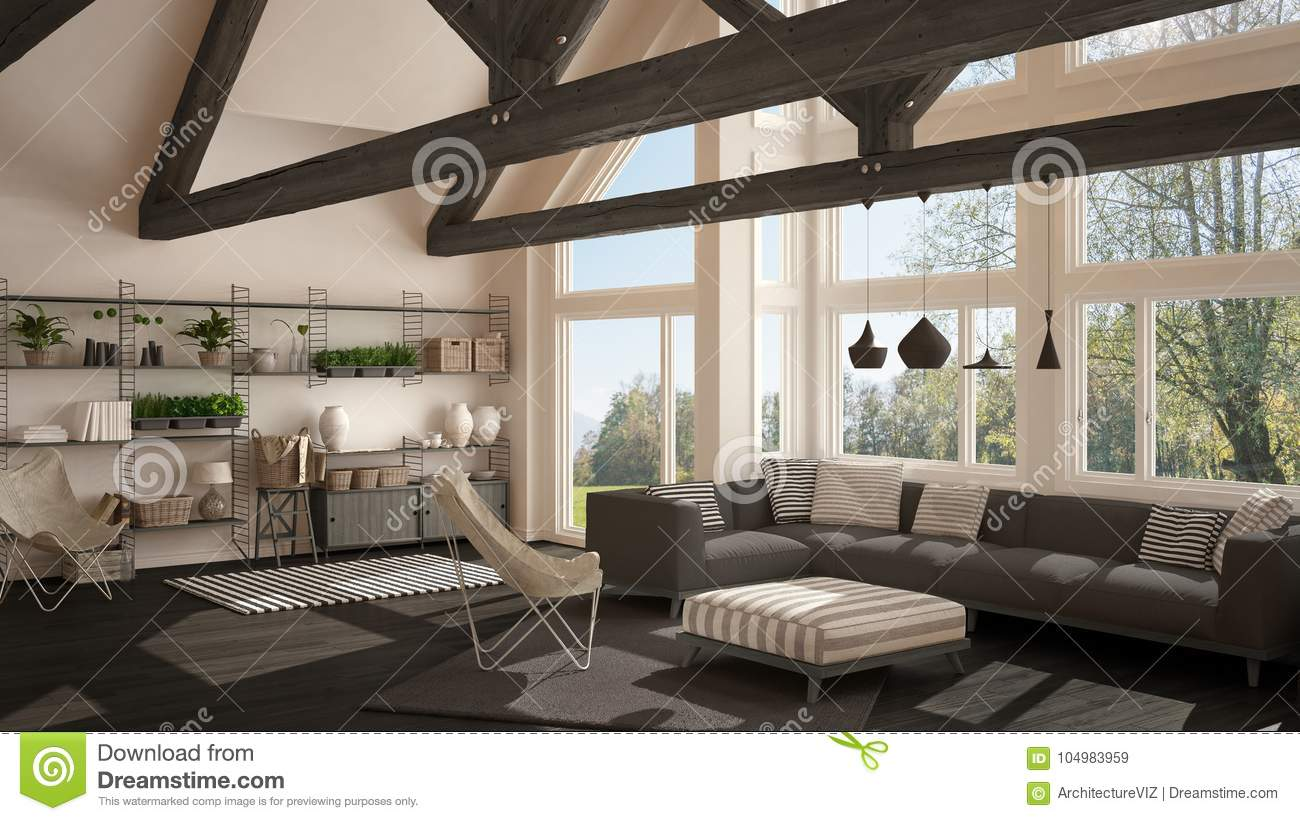 Living Room Of Luxury Eco House Parquet Floor And Wooden Roof T Stock Illustration Illustration Of Interior Design 104983959