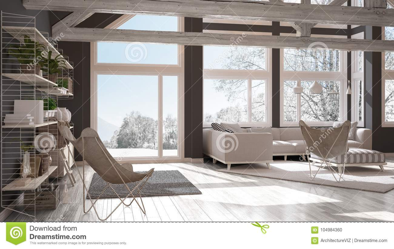 Living Room Of Luxury Eco House Parquet Floor And Wooden Roof T Stock Illustration Illustration Of Monochromatic Modern 104984360