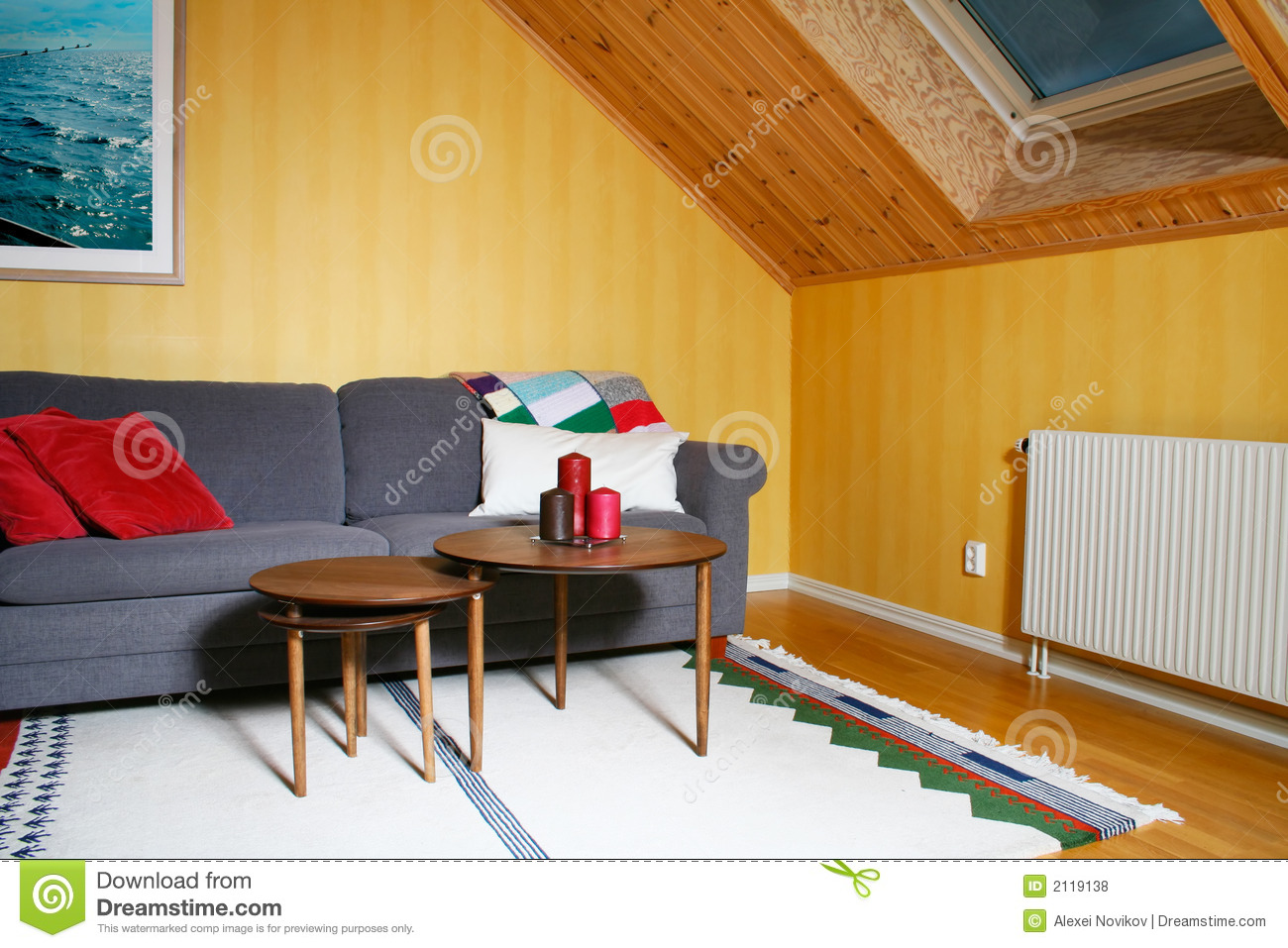 Living room in a mansard story royalty free stock photos for Mansard room