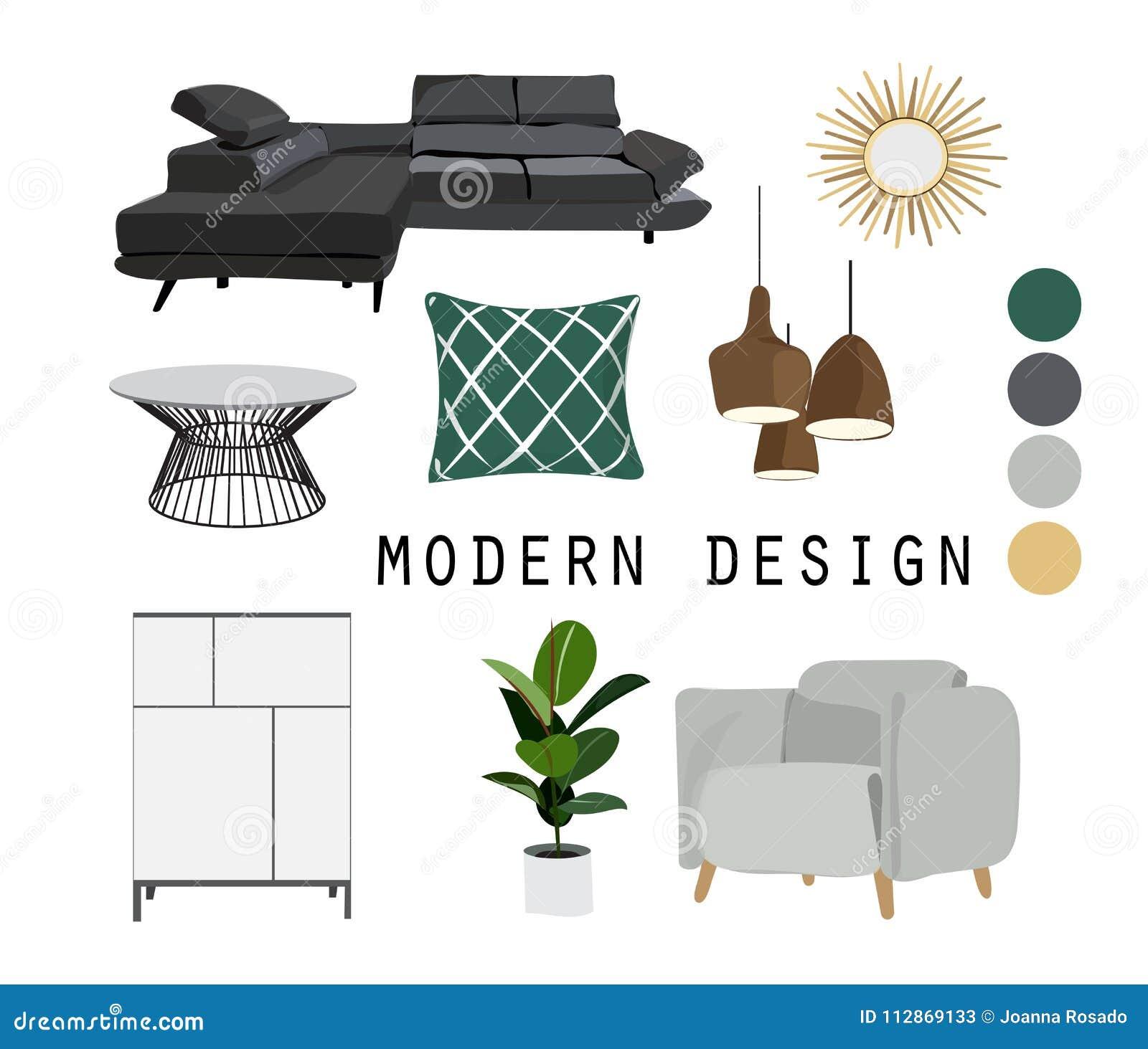 Vector Interior Design Mood Board Illustration Living Room Furniture Stock Vector Illustration Of Board Decoration 112869133,Scandinavian Style Livingroom