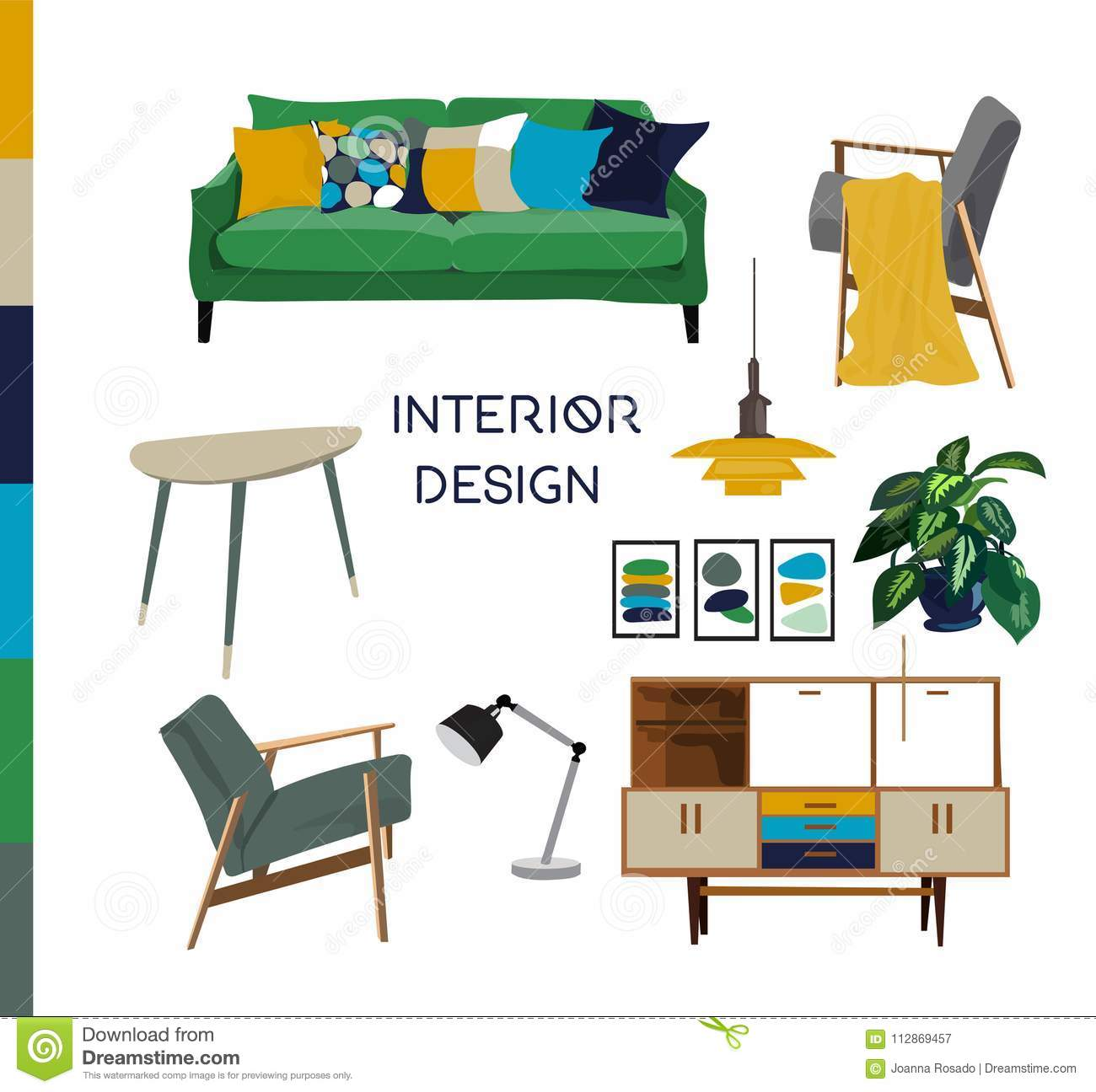 Image of: Vector Interior Design Watercolor Illustration Living Room Furniture Stock Vector Illustration Of Danish Lifestyle 112869457