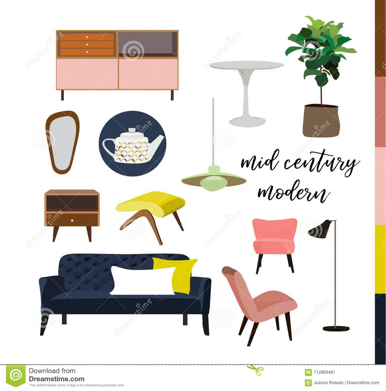 Vector Interior Design Watercolor Illustration. Living
