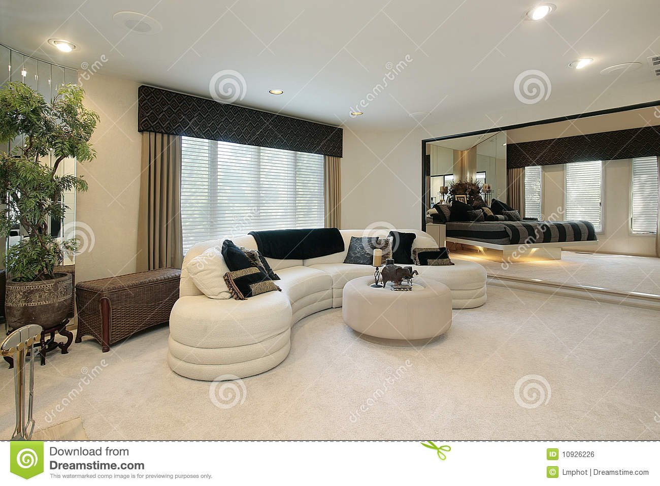 living room with mirrored walls royalty free stock image
