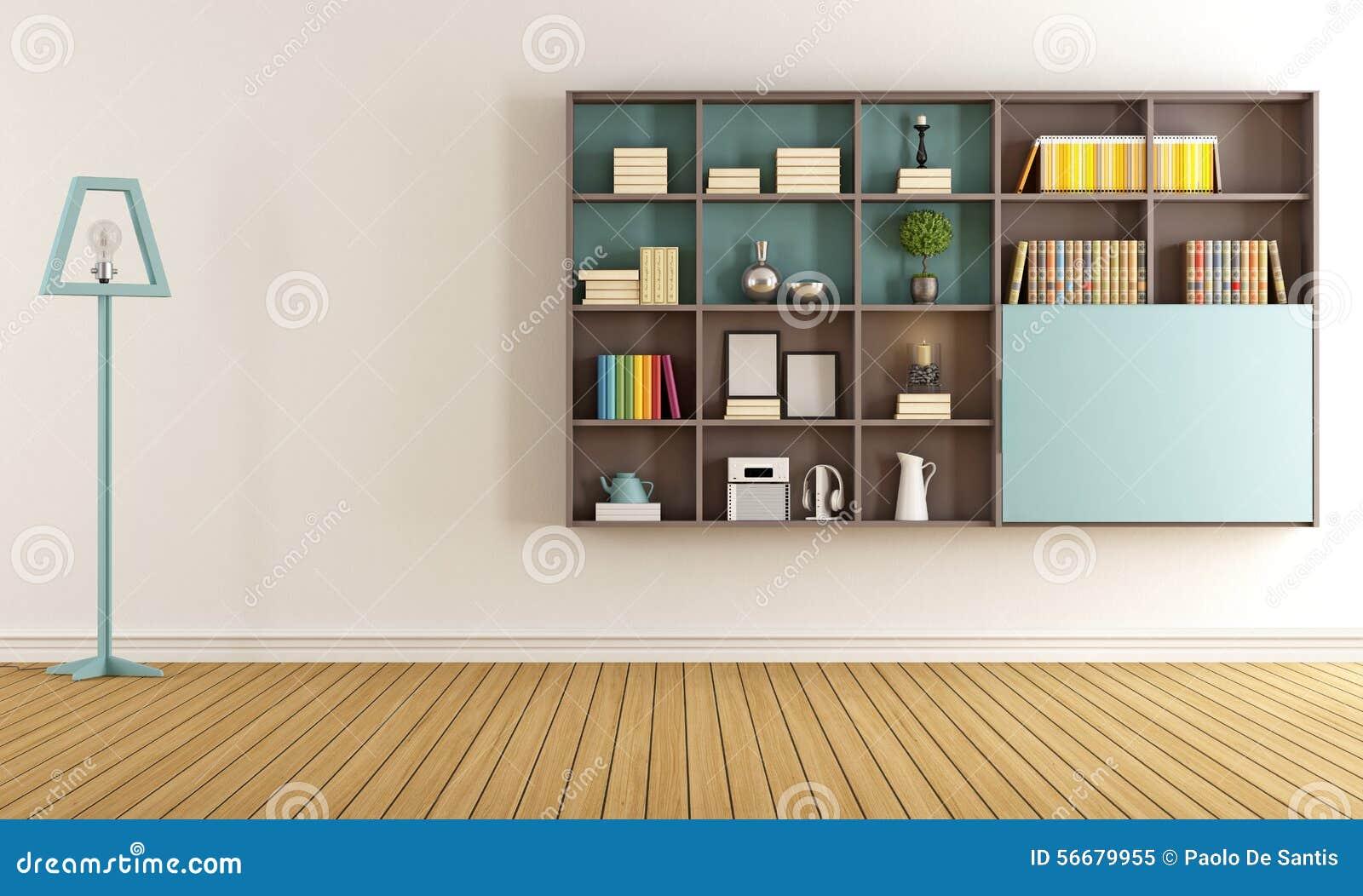 Living room with modern bookcase stock illustration illustration