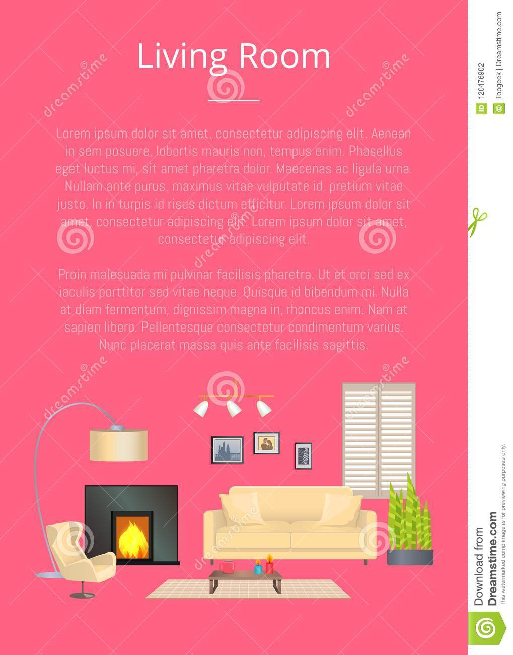 Living Room, Modern House Decoration, Color Banner Stock Vector ...