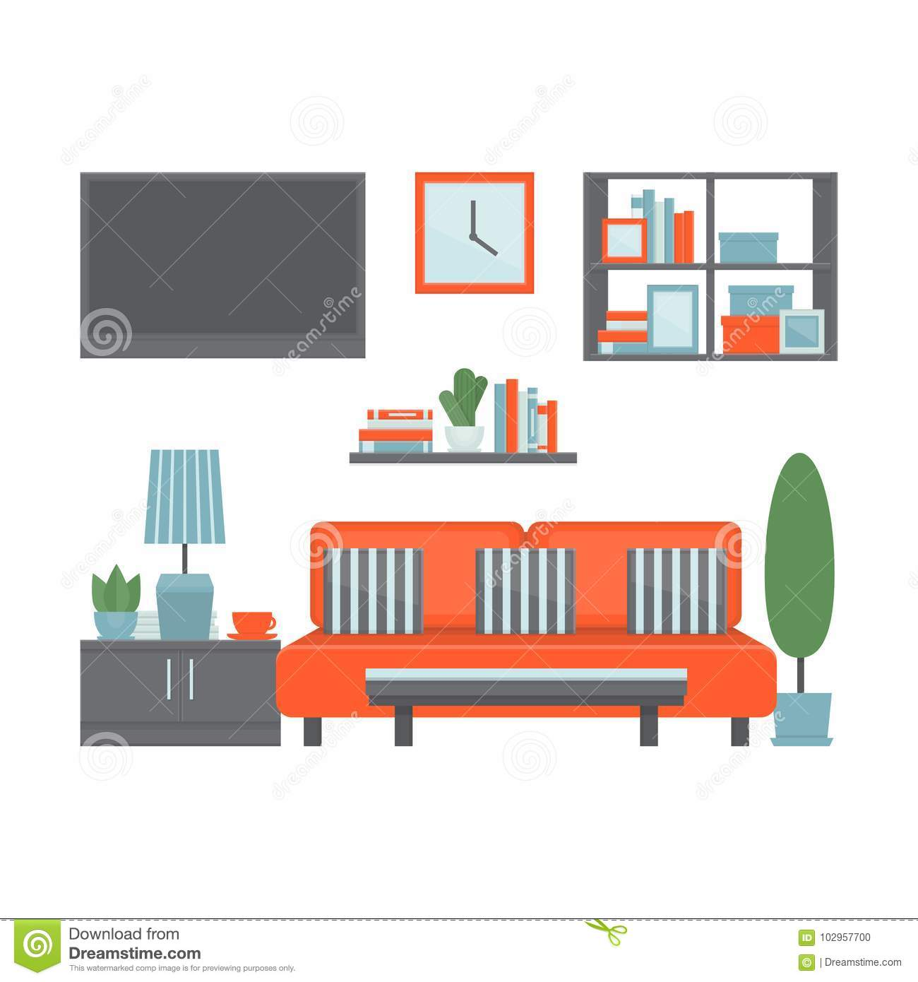 Living Room Modern Interior With Furniture And Equipment Front