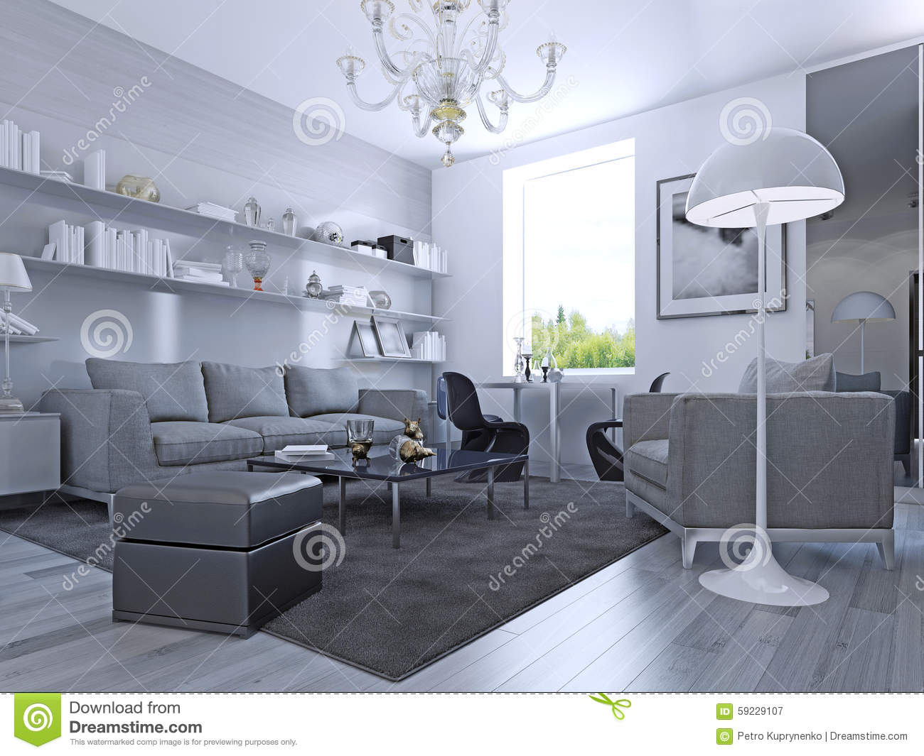 Living room in modern style elegant living room with white walls and light grey laminate flooring wall system with white shelves ikea furniture