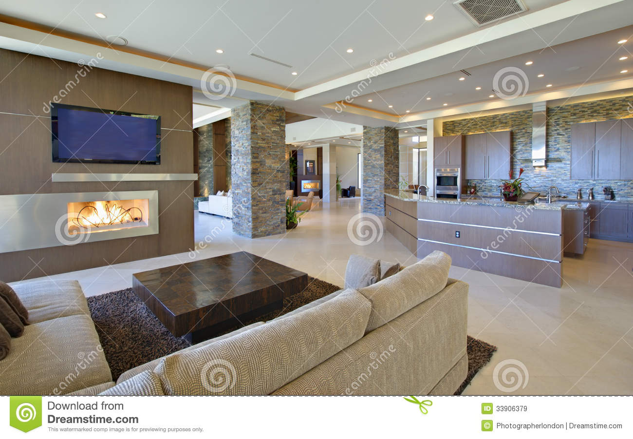 Living Room With Open Kitchen Royalty Free Stock Images - Image