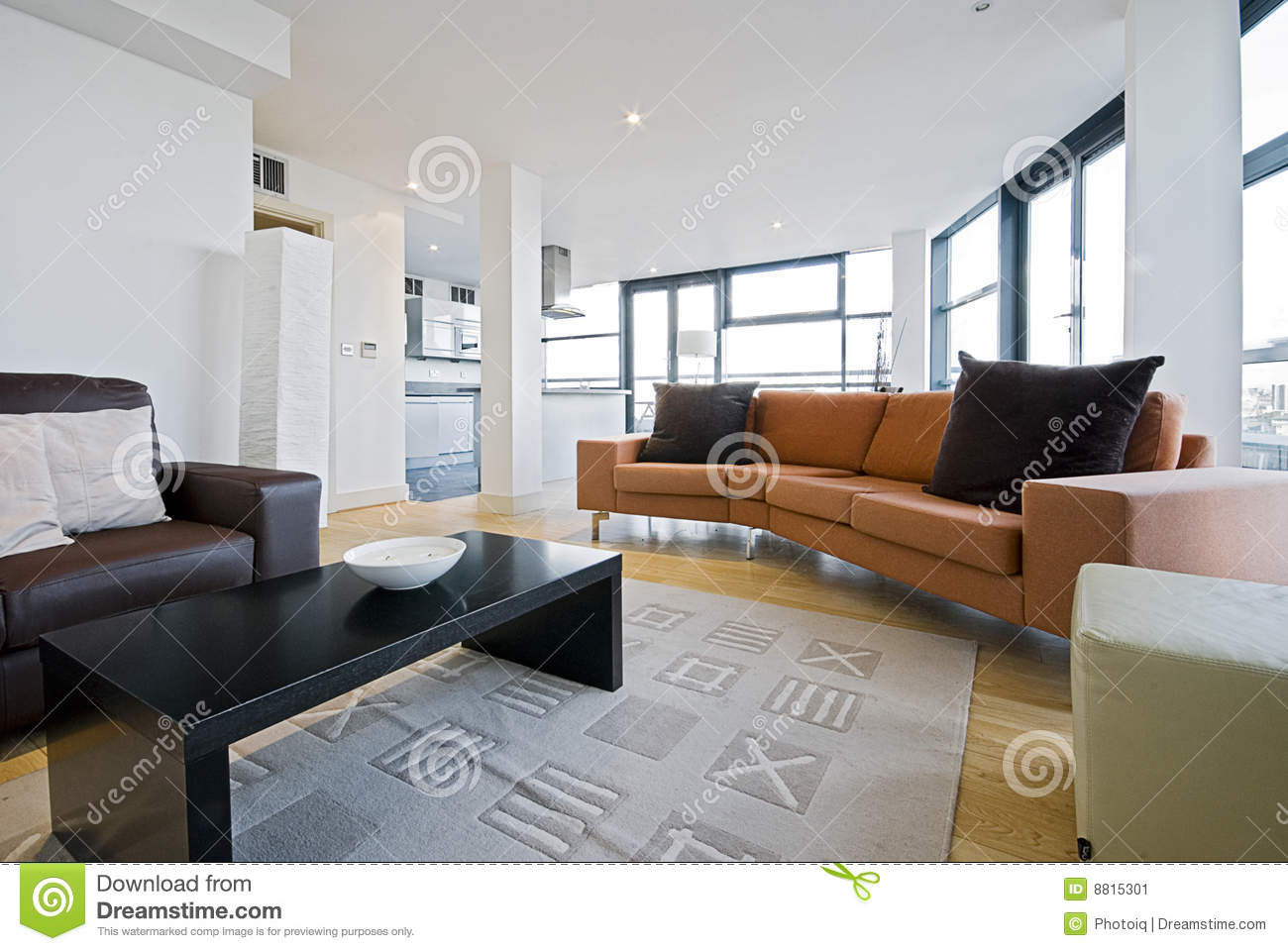 Elegant Royalty Free Stock Photo. Download Living Room With Orange Sofa ... Part 24