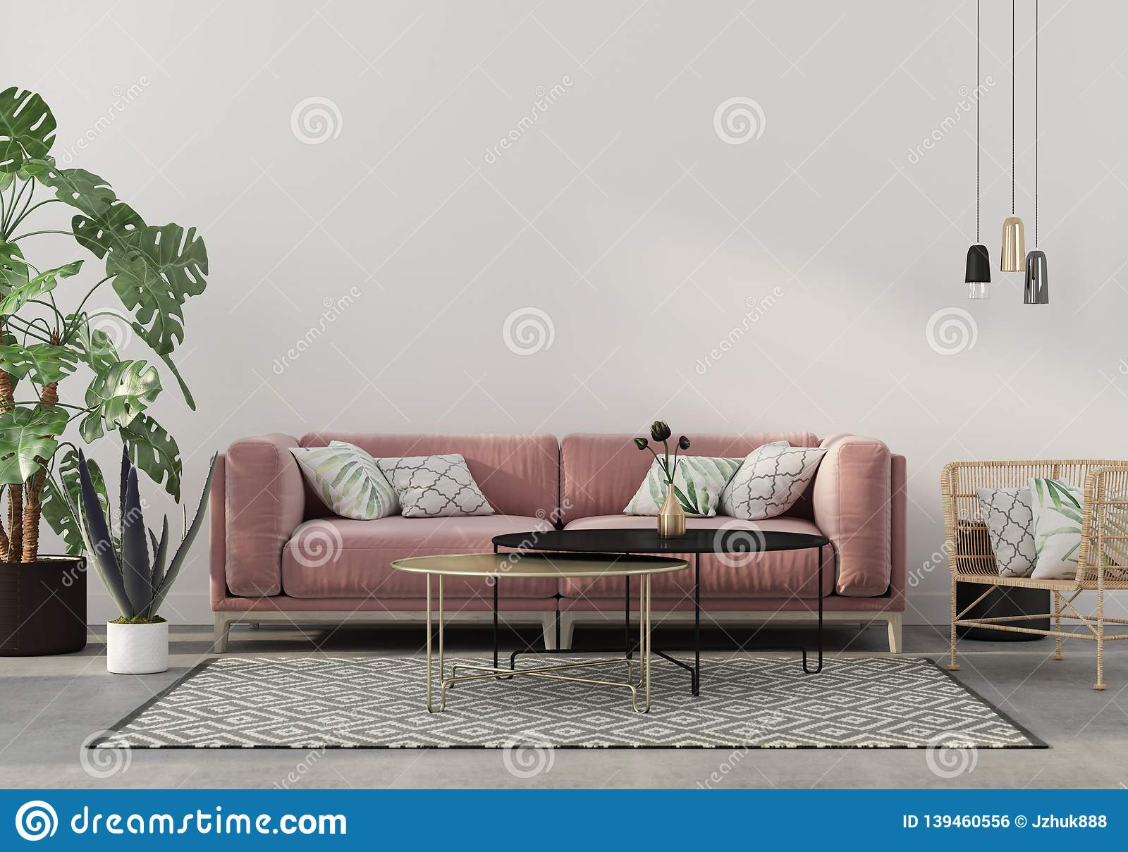 Living Room In Pink With Velvet Sofa Stock Illustration Illustration Of Contemporary Pink 139460556