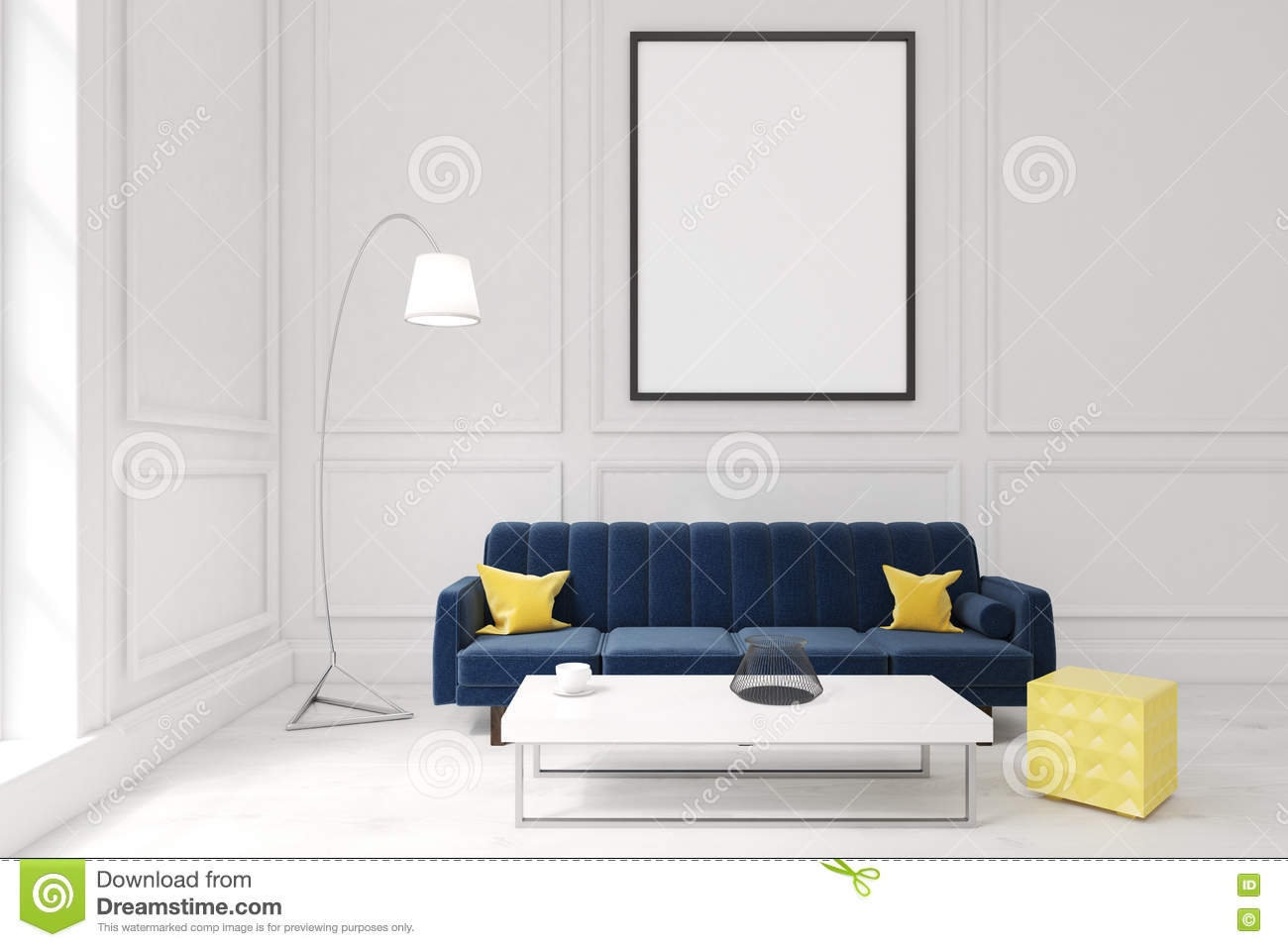 Living Room With Poster Dark Blue Sofa And A Coffee Table
