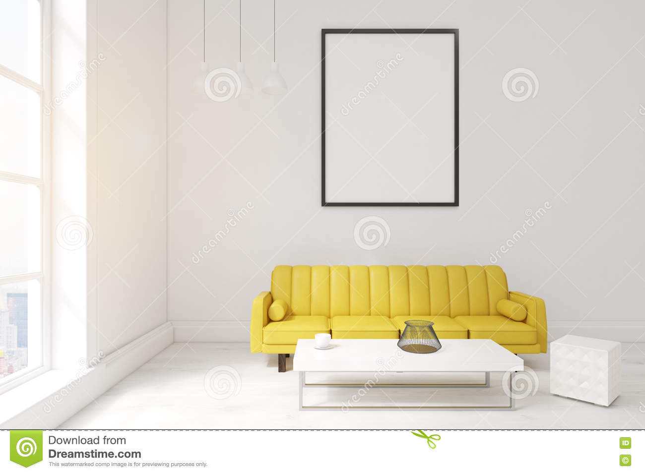 Living Room With Poster, Yellow Sofa And A Coffee Table Stock ...