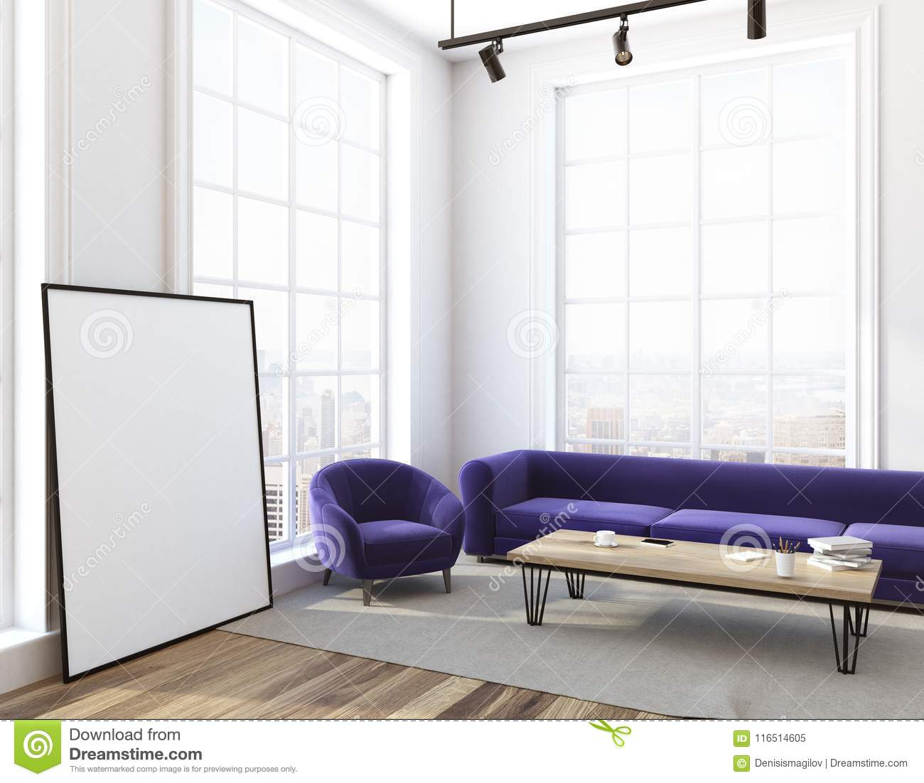 Living Room Purple Sofa And Armchair, Poster Side Stock ...