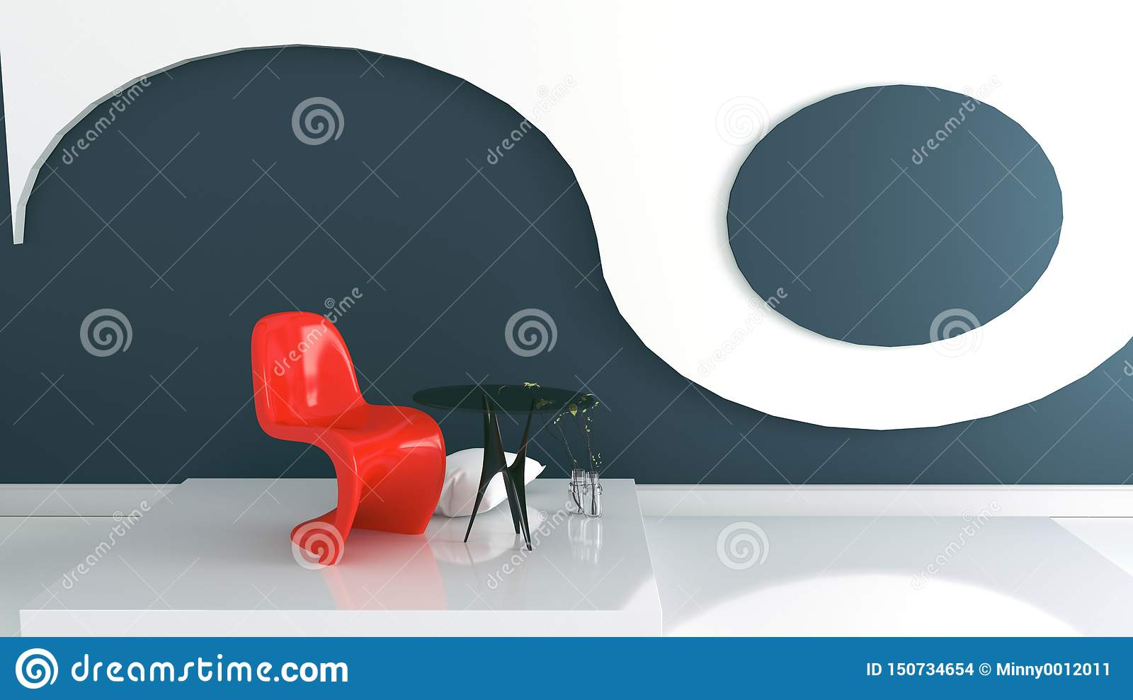 Pleasant Living Room With Red Armchair And Vase On Dark Blue And Pabps2019 Chair Design Images Pabps2019Com