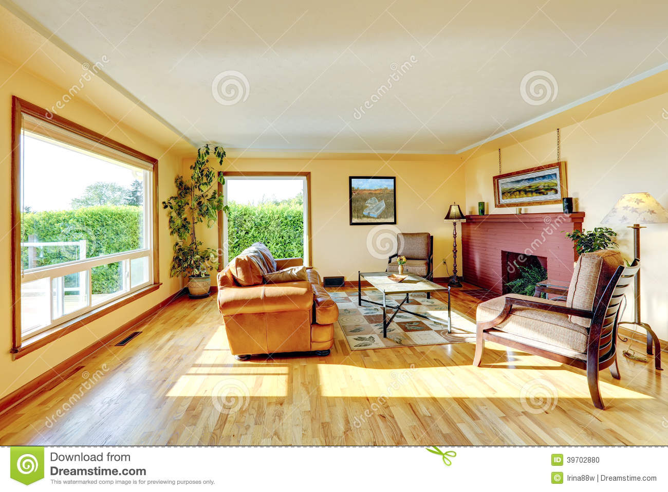 living room with red brick fireplace stock photo - image: 39702880
