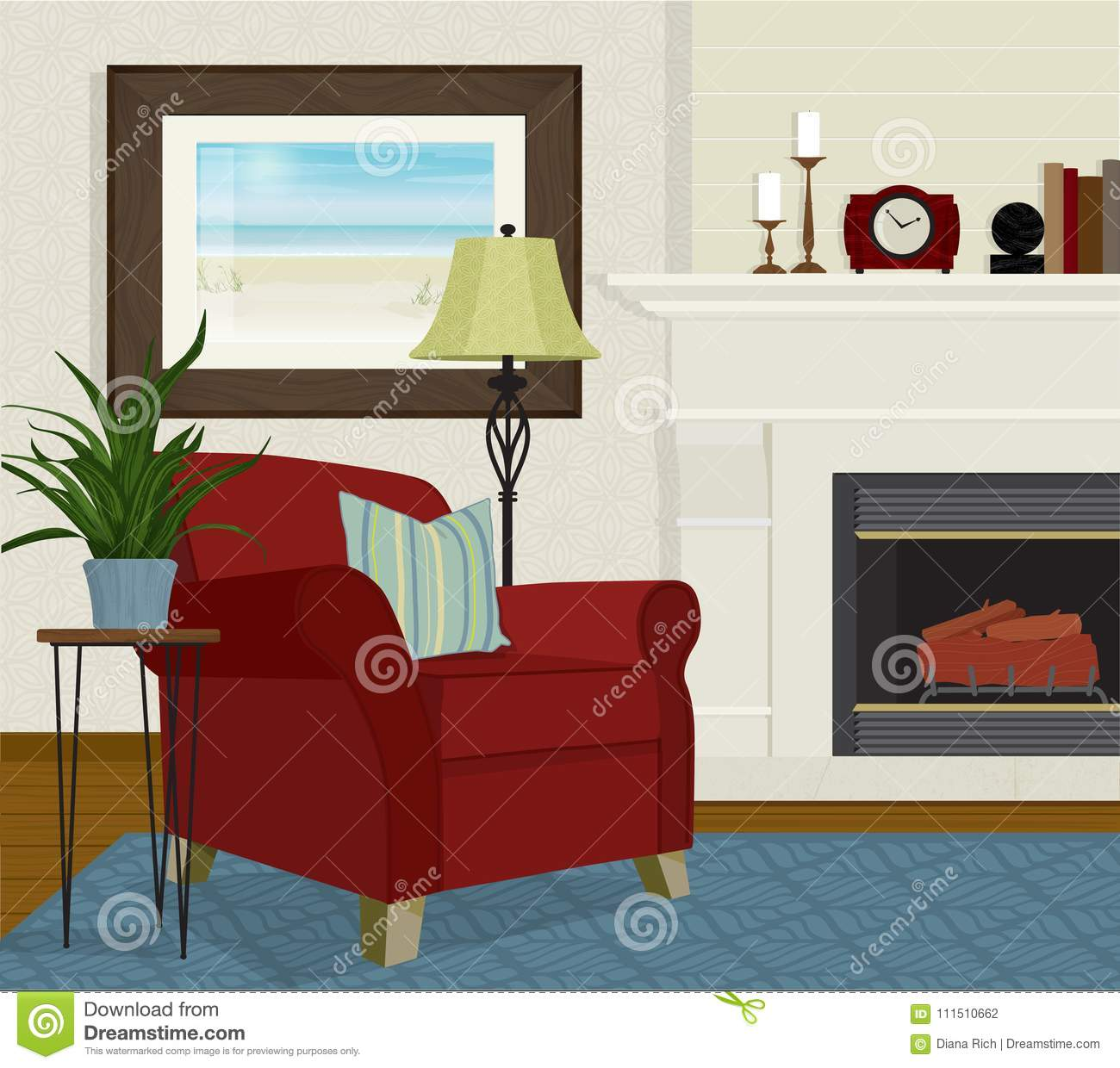 Living Room with Red Overstuffed Chair and Fireplace