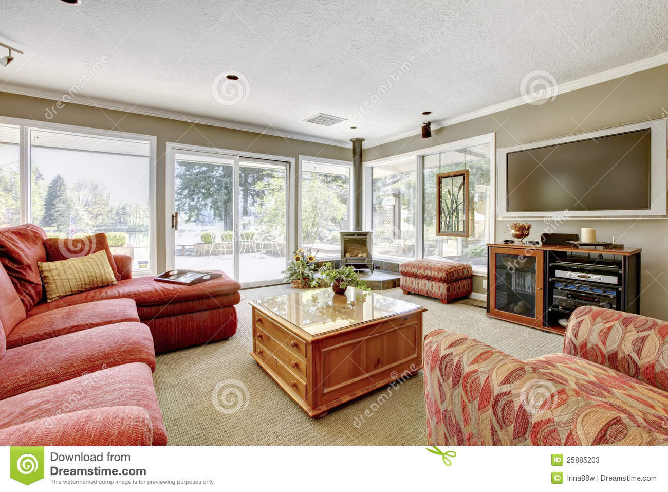 Living Room With Red Sofa Beige Stock Photos Image
