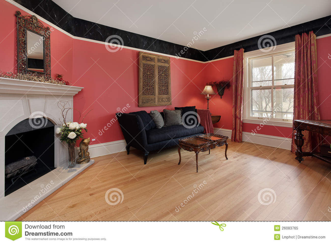 Living room with red walls stock image image of hardwood for Red walls in living room