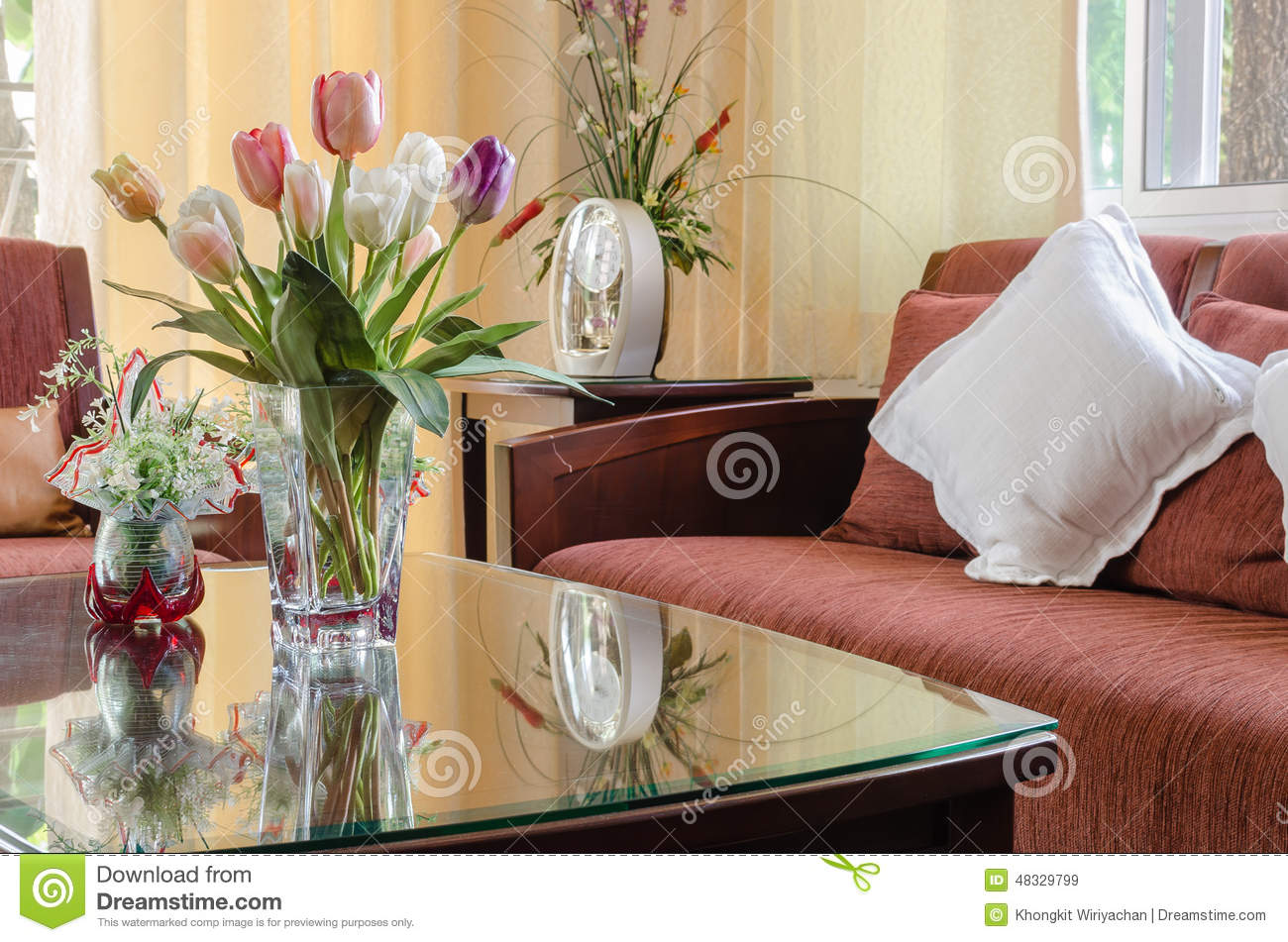 Royalty Free Stock Photo Download Living Room With Red Wooden Sofa And Vase Of Flower