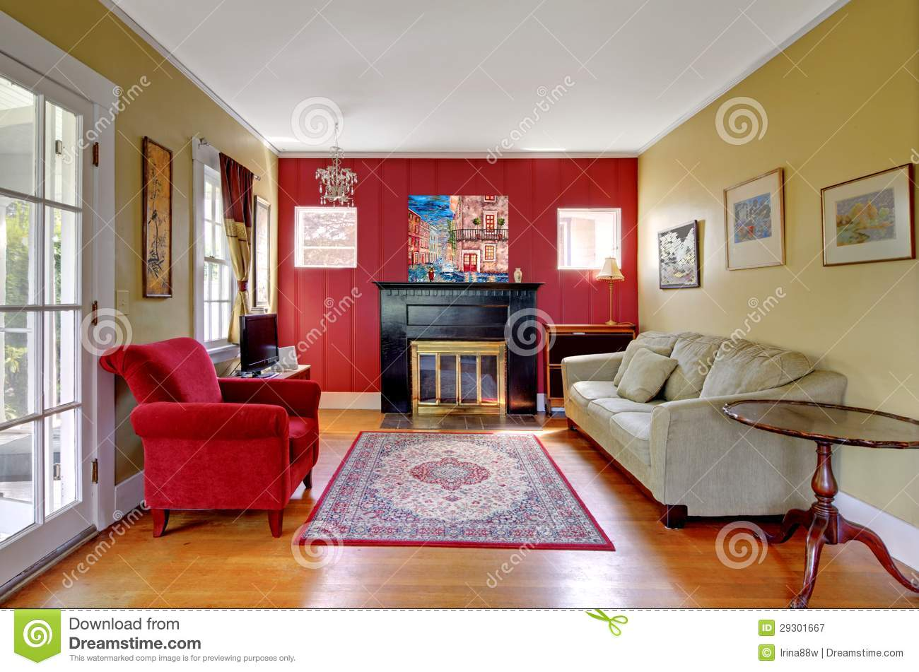 Living room with red and yellow walls and fireplace for Red and yellow living room ideas