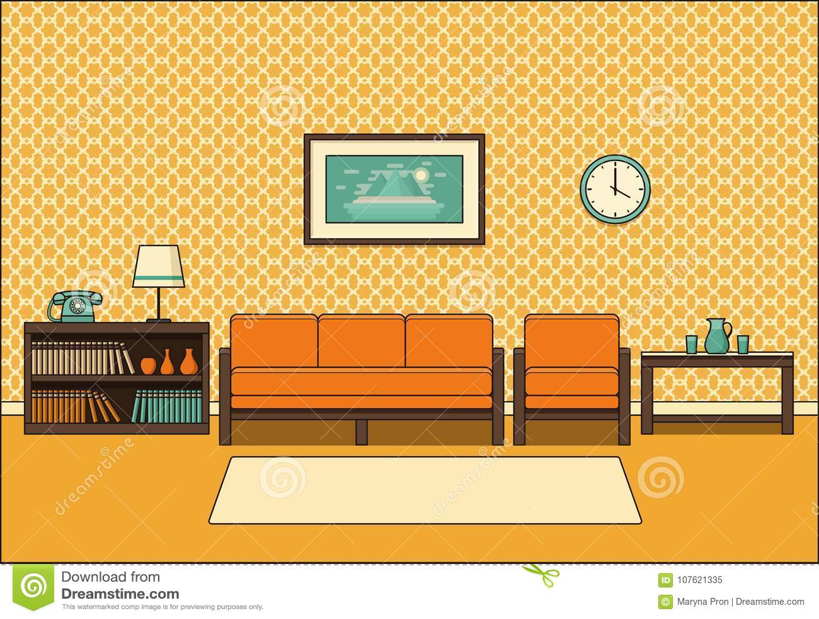 Retro Room Interior In Line Art Flat Design Vector Illustration