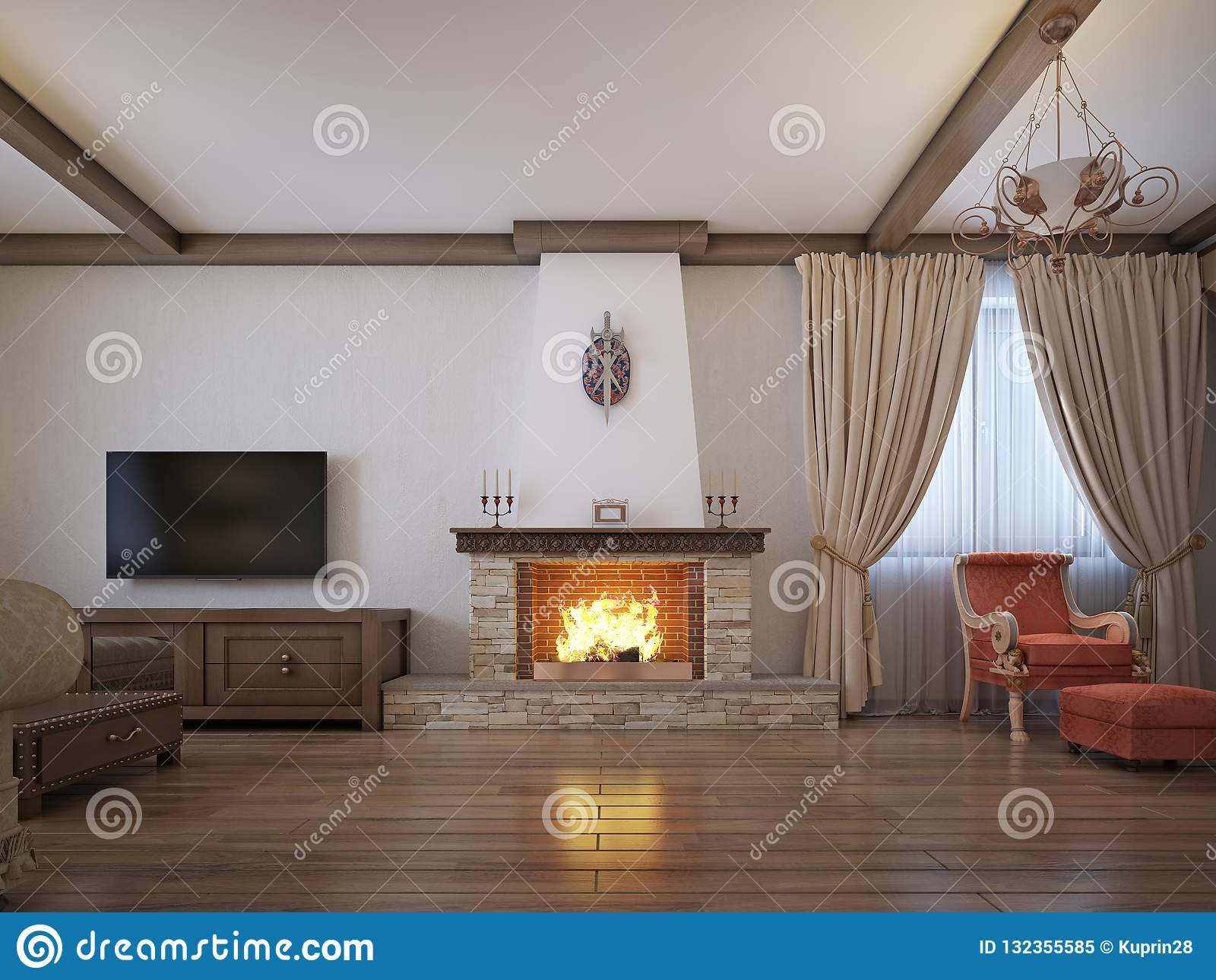 Rustic Style Living Room.Living Room In A Rustic Style With Soft Furniture And A