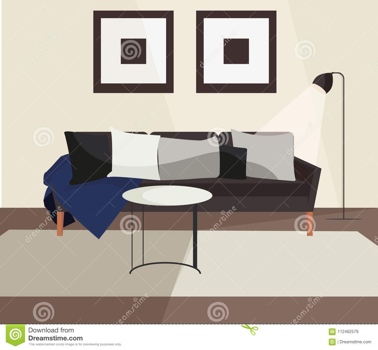 Living room sofa couch scandinavian minimalistic interior modern indoor home design with furniture vector illustration objects pack