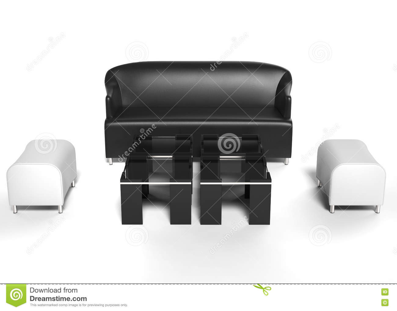 Living room set furniture - black leather sofa with white ottomans and coffee tables