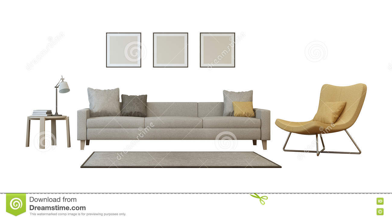 Living room set isolated on white background stock for White sofa set living room