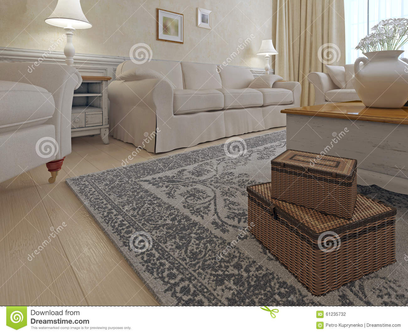 Living Room Shabby Chic Style Bright Living Room With Cream Sofa