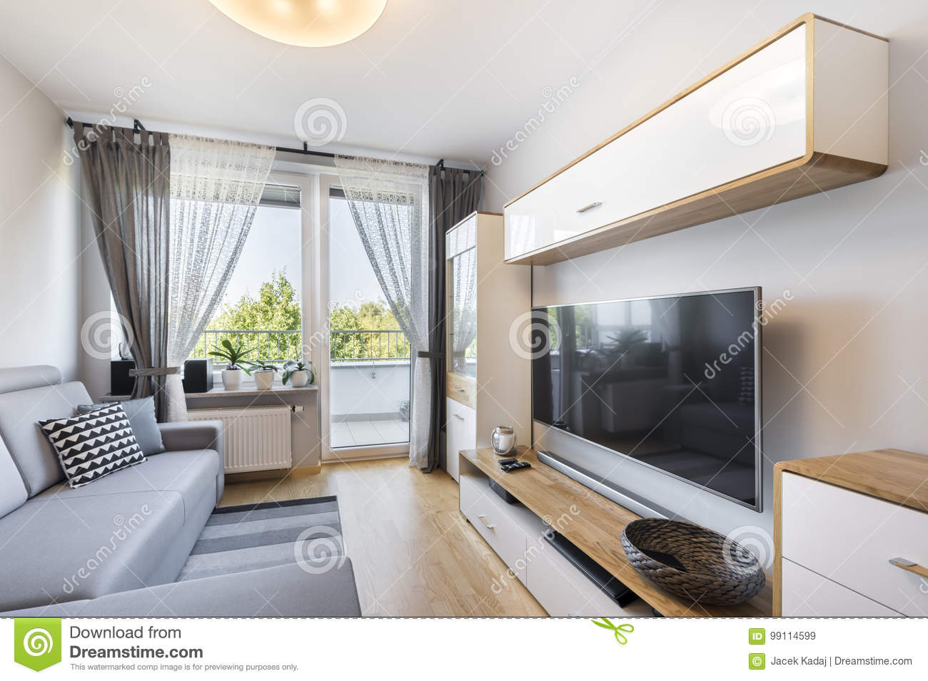 Living Room In Small Apartment Stock Image - Image of corner ...