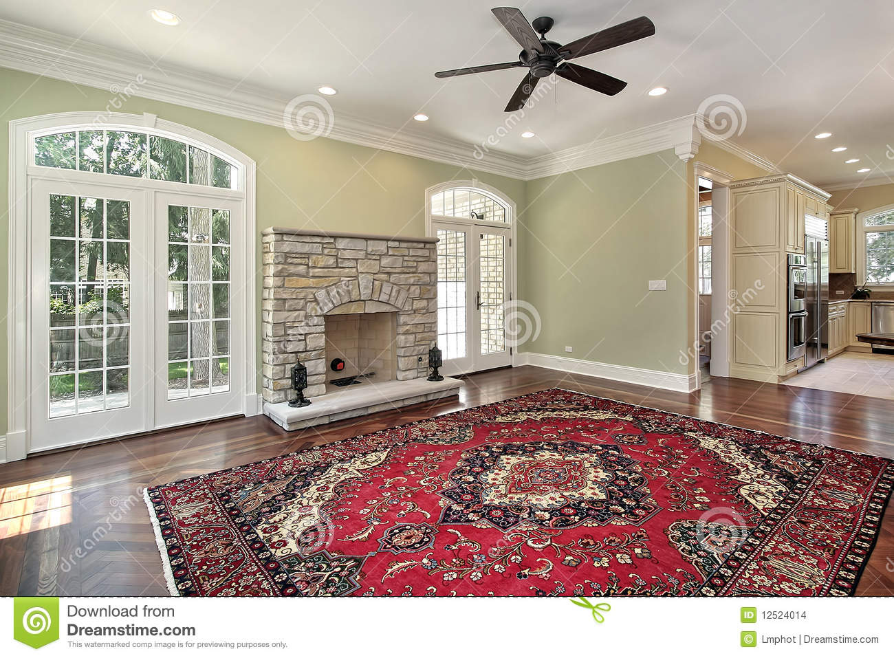 Living Room With Stone Fireplace Stock Images Image 12524014