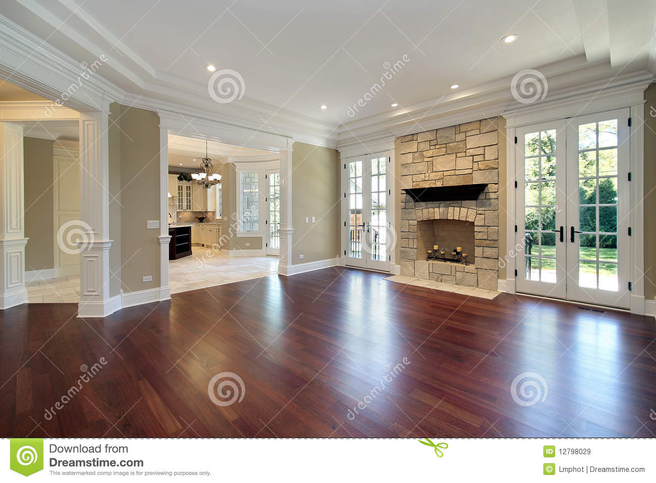 Living Room With Stone Fireplace living room with stone fireplace royalty free stock images - image
