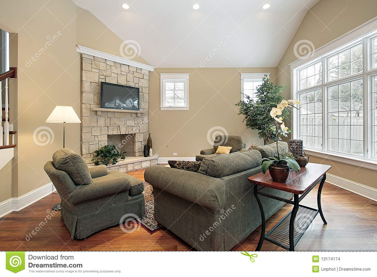 Living Room With Stone Fireplace living room with stone fireplace stock image - image: 12662391
