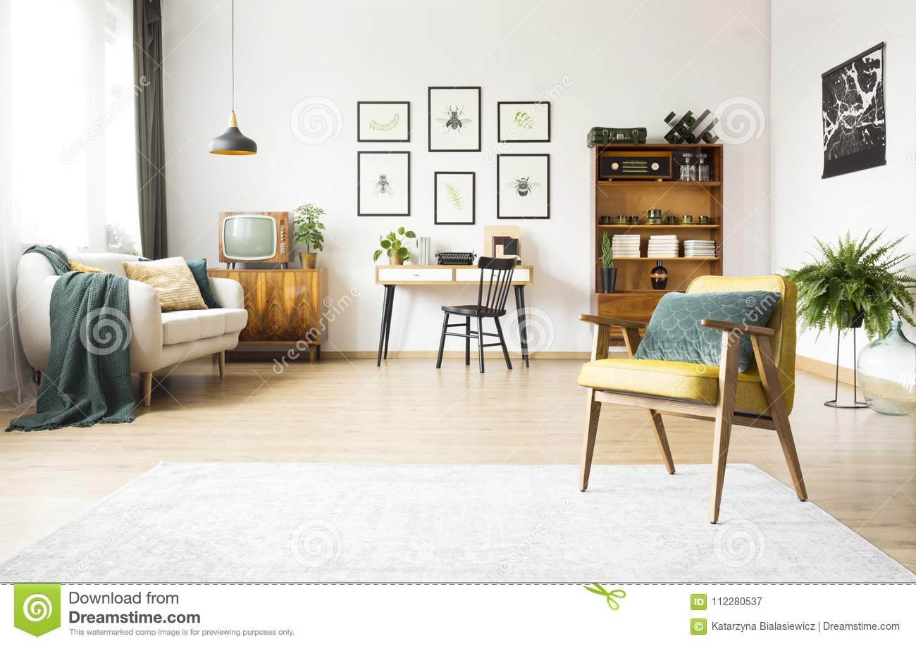 Living Room With Study Space Stock Image - Image of flat, green ...