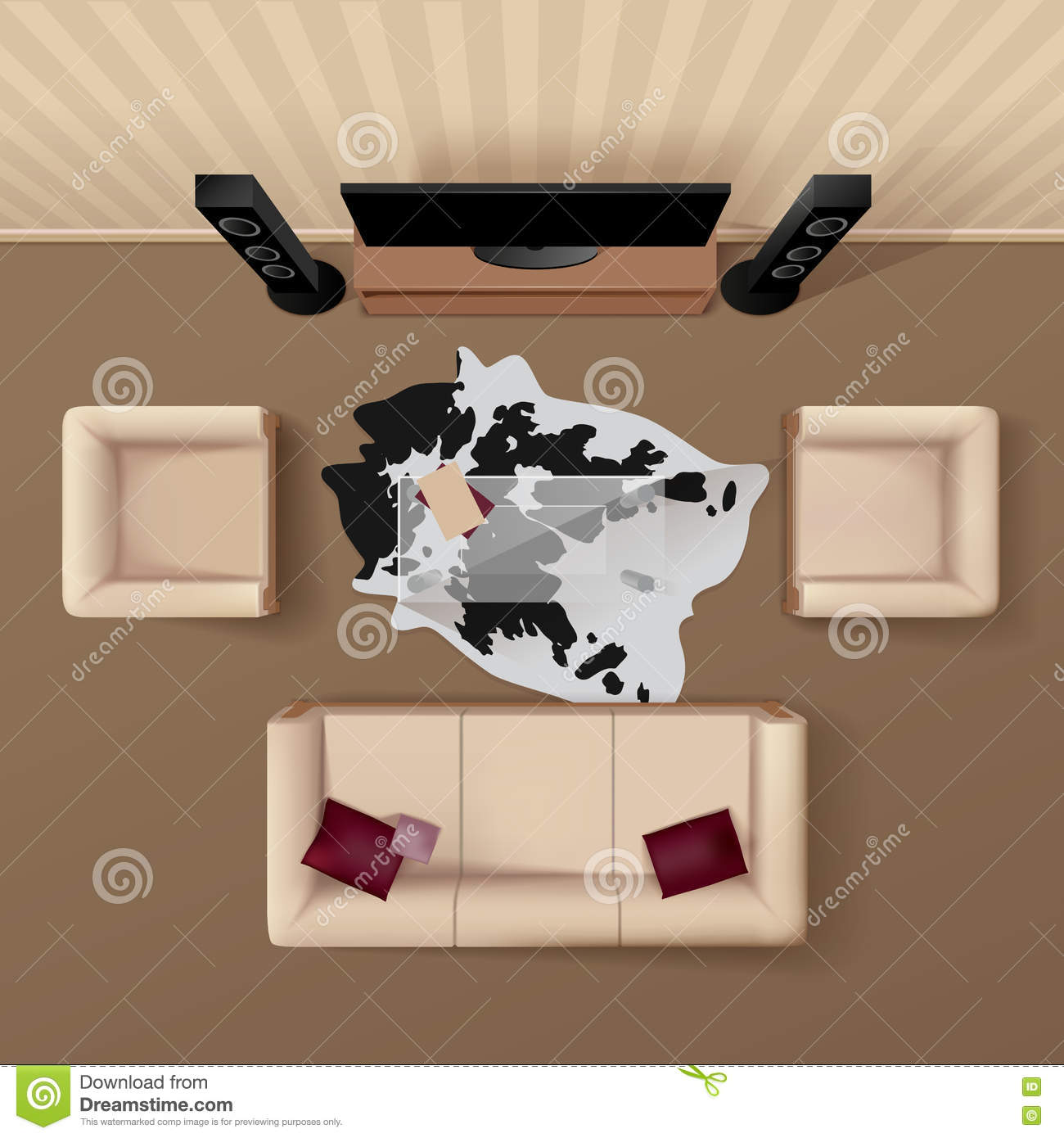 Living room top view realistic image stock vector for 15x15 living room