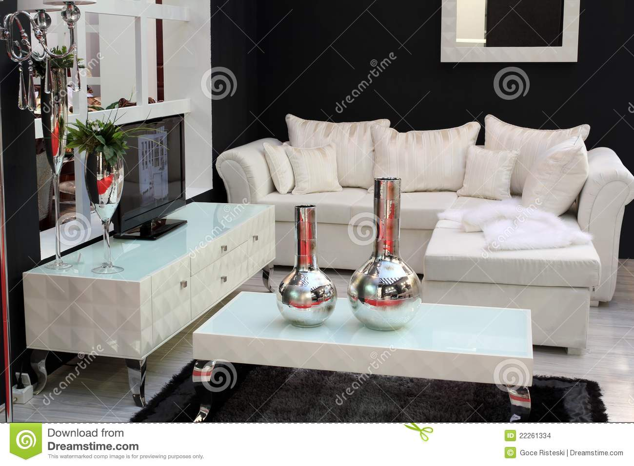 White Living Room With Tv Set Royalty Free Stock Image 87387622