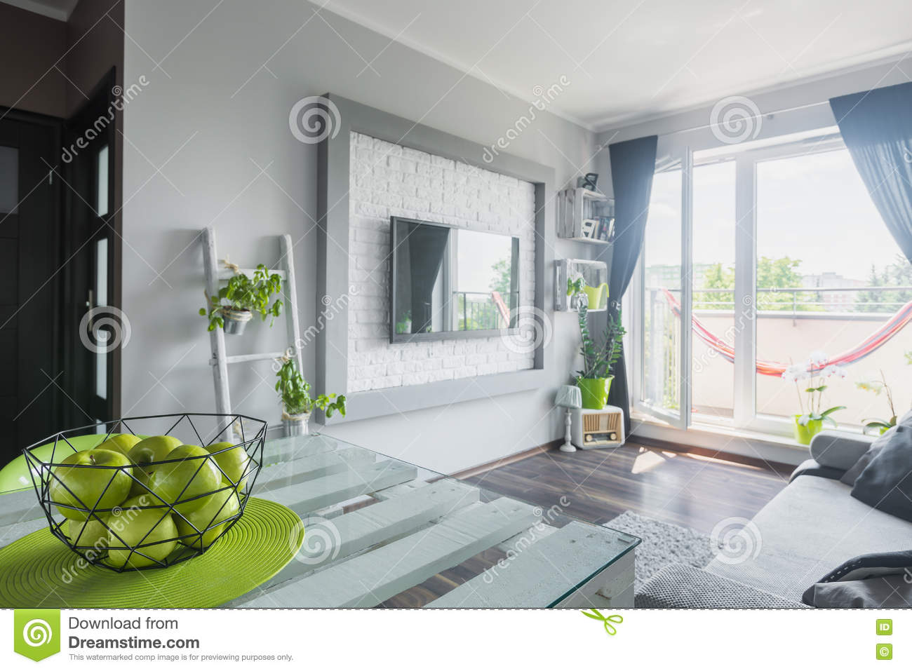 Download Living Room With Tv As A Focal Point Stock Photo   Image Of  Comfort,
