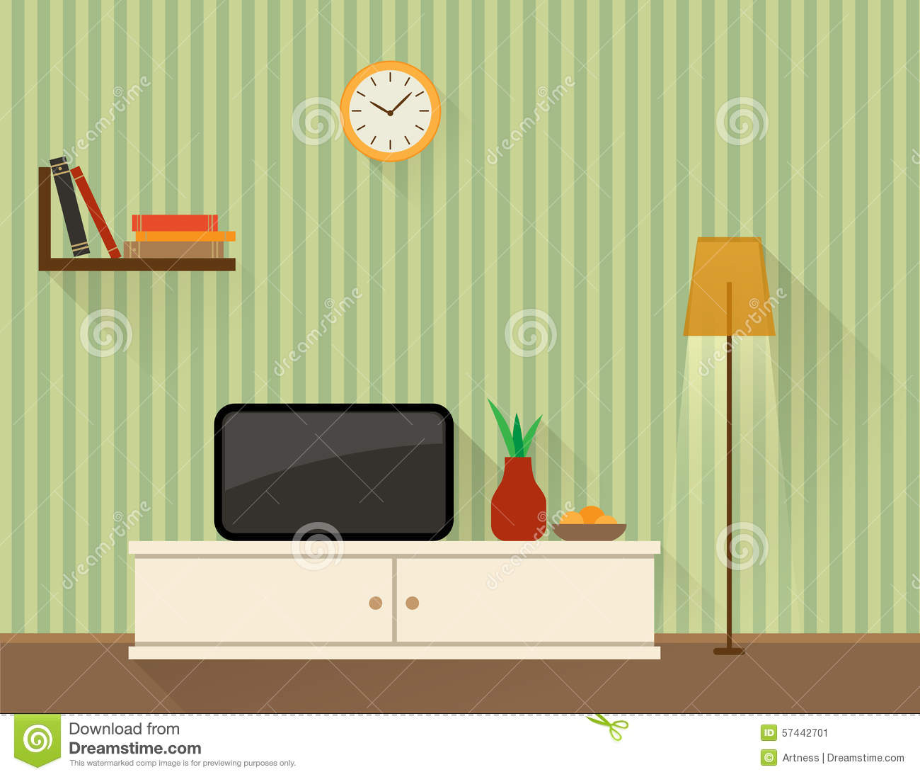 Living room with tv stock vector image 57442701 for Room design vector