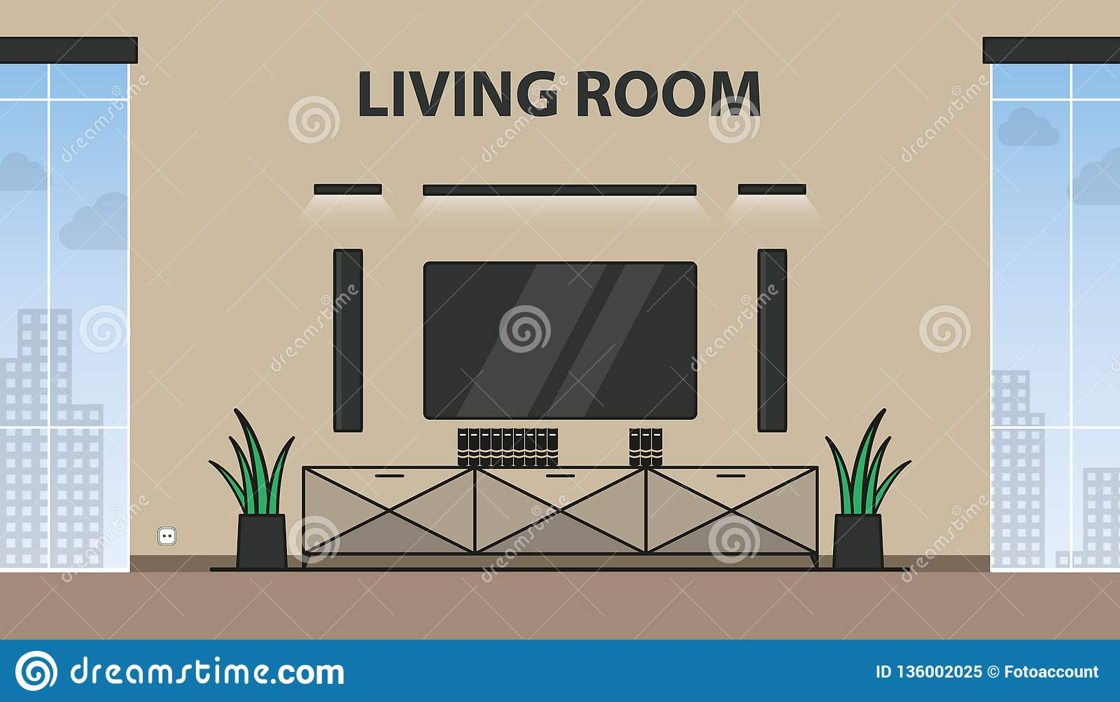 Living Room With TV, Lights, Closet, Flowers And Windows - Modern Colorful Vector Illustration