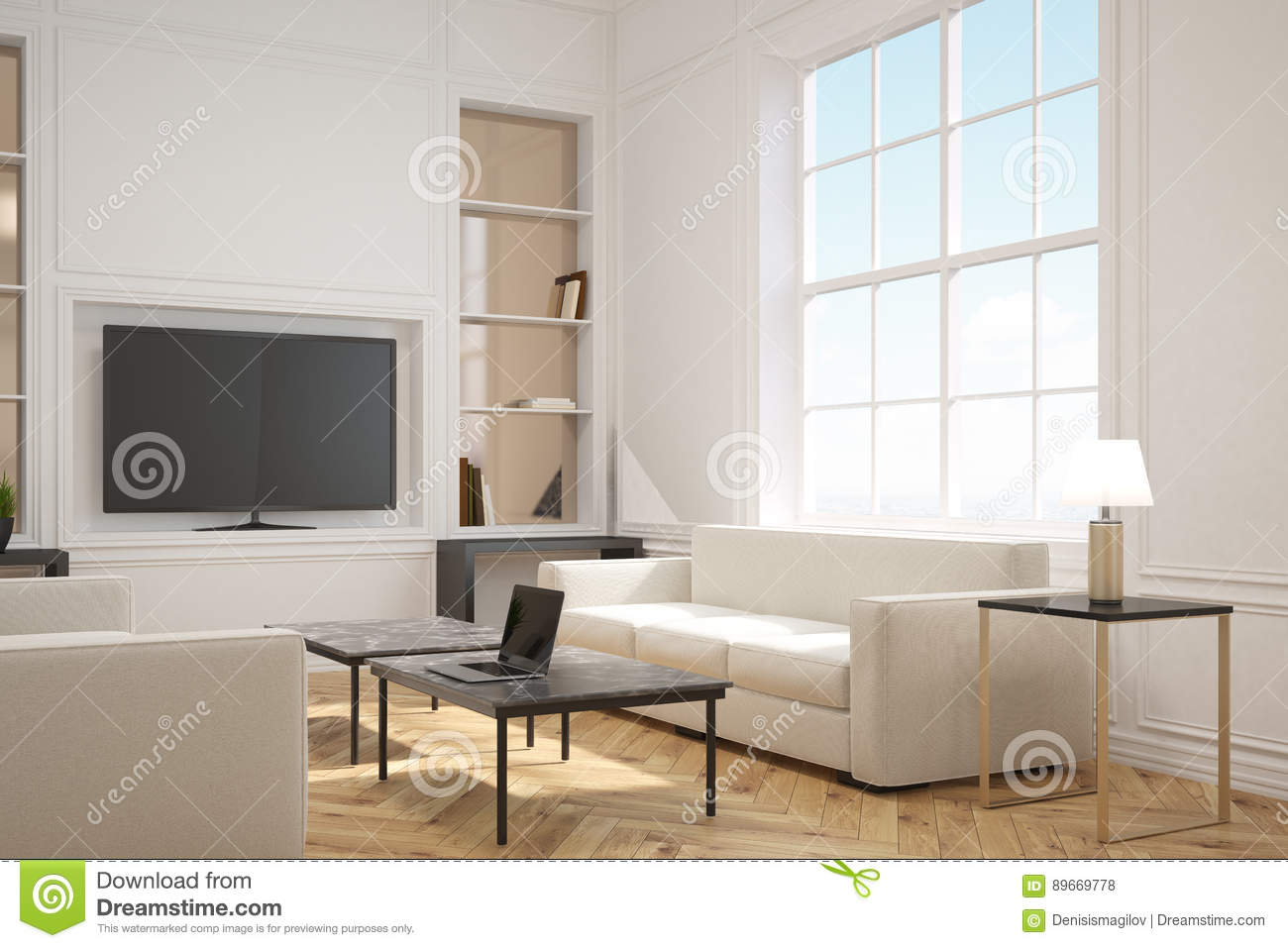 Living Room With A Tv, Side Stock Illustration - Illustration of ...