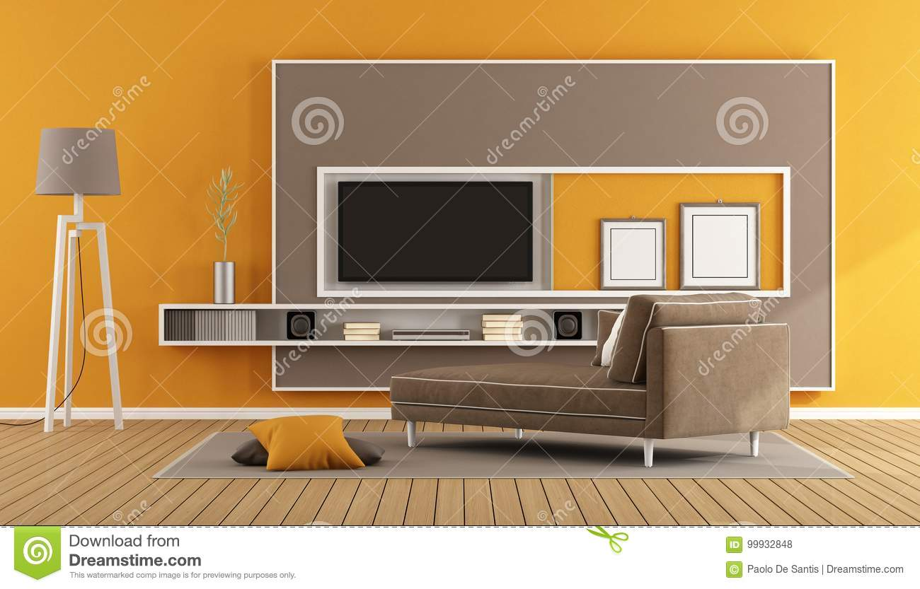 Living room with tv unit stock illustration. Illustration of ...