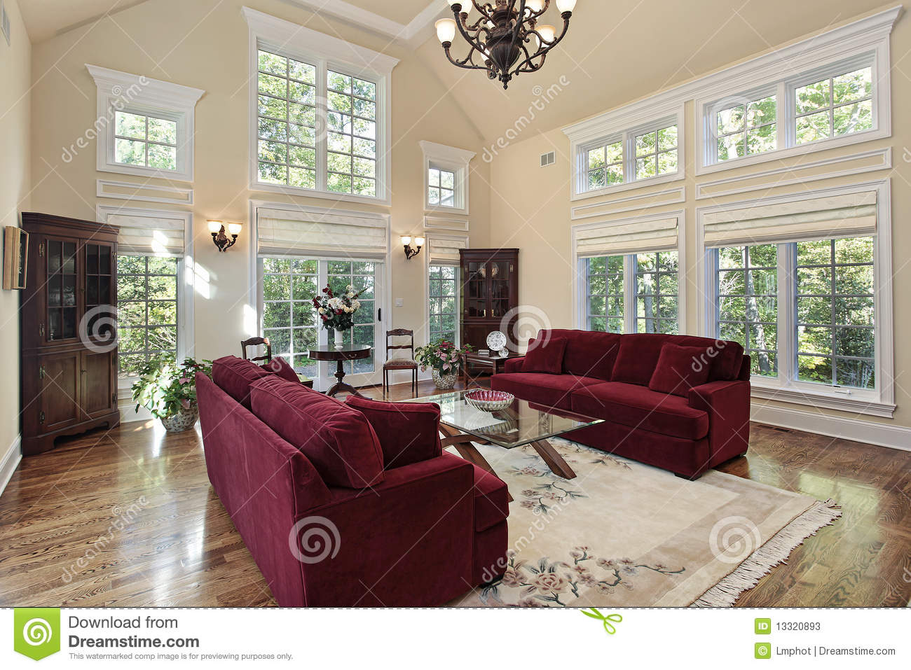 Living Room With Two Story Windows Stock Photos Image