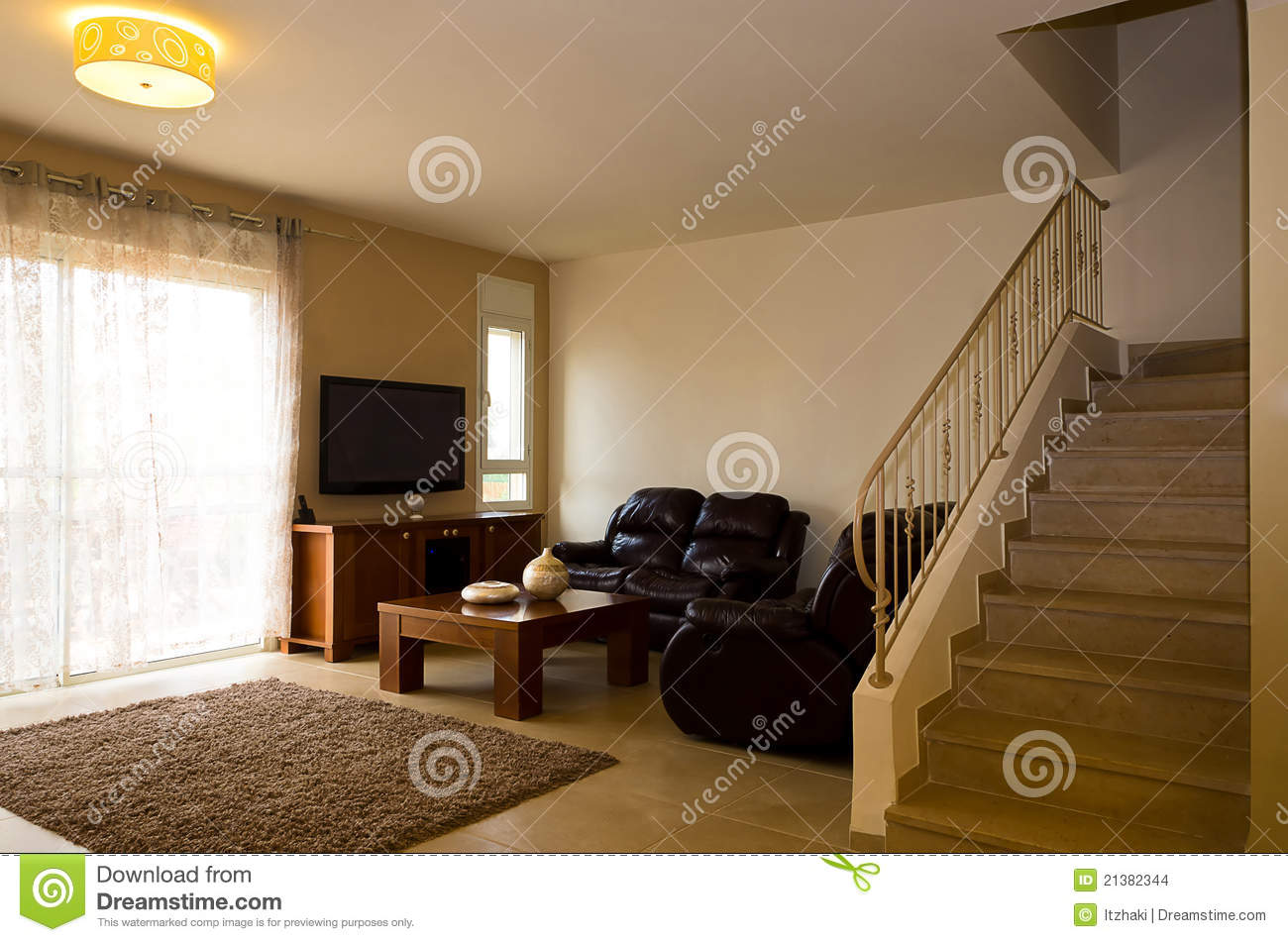 Upstairs living room interior of luxury house stock photo for Houses with upstairs living