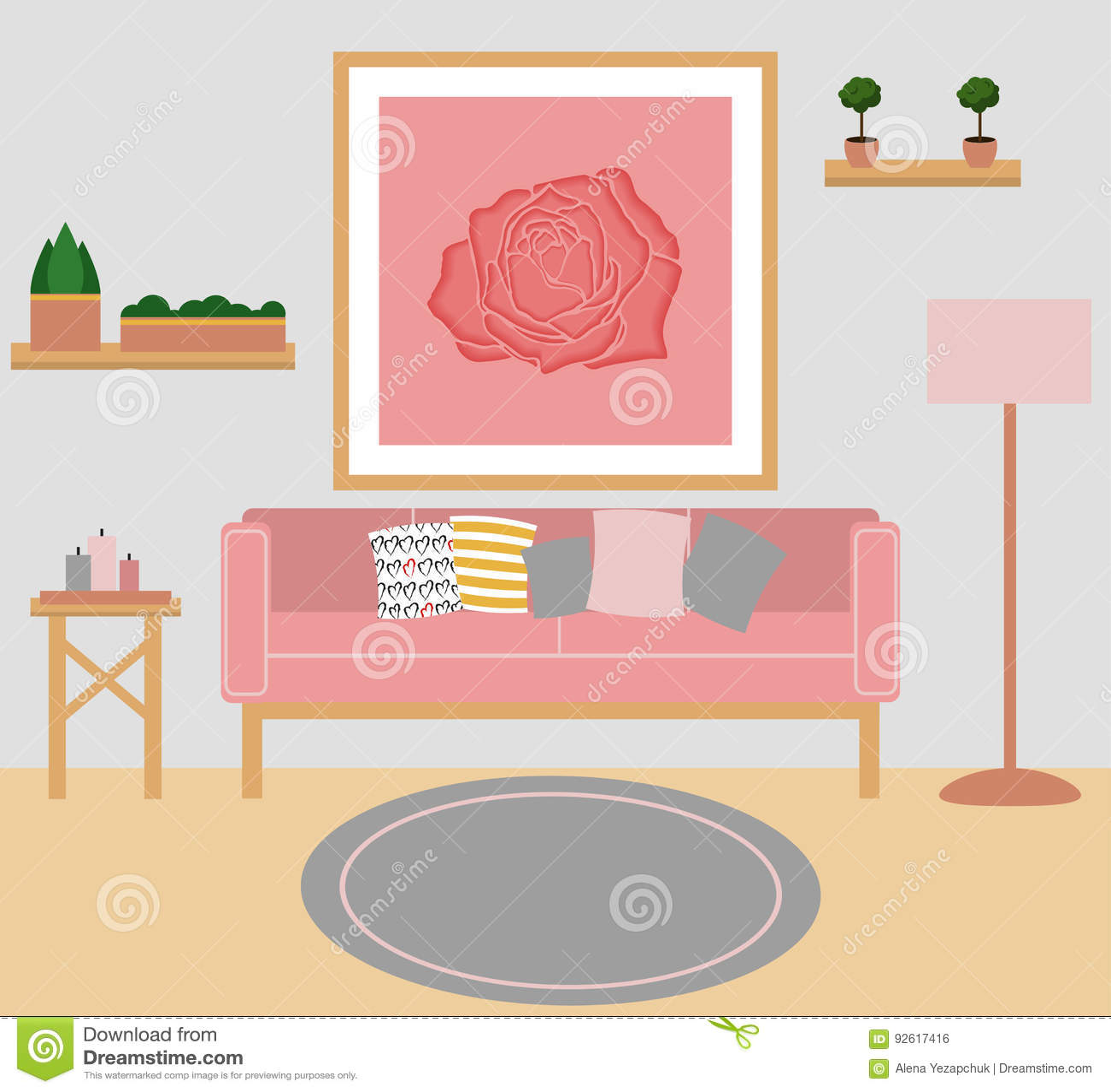 Living Room Vector Flat Design Stock Vector