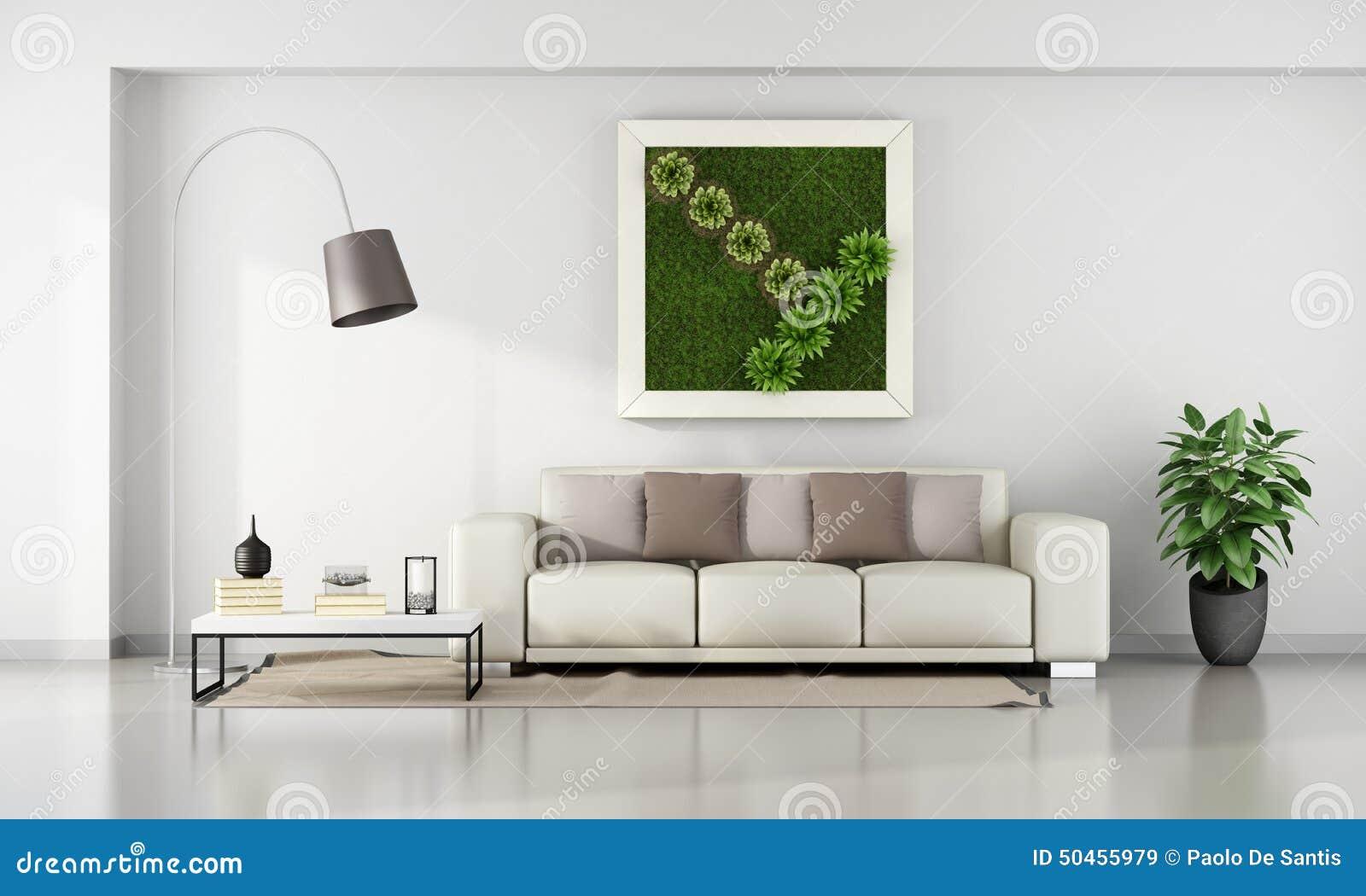 living room with vertical garden in frame stock illustration image 50455979. Black Bedroom Furniture Sets. Home Design Ideas