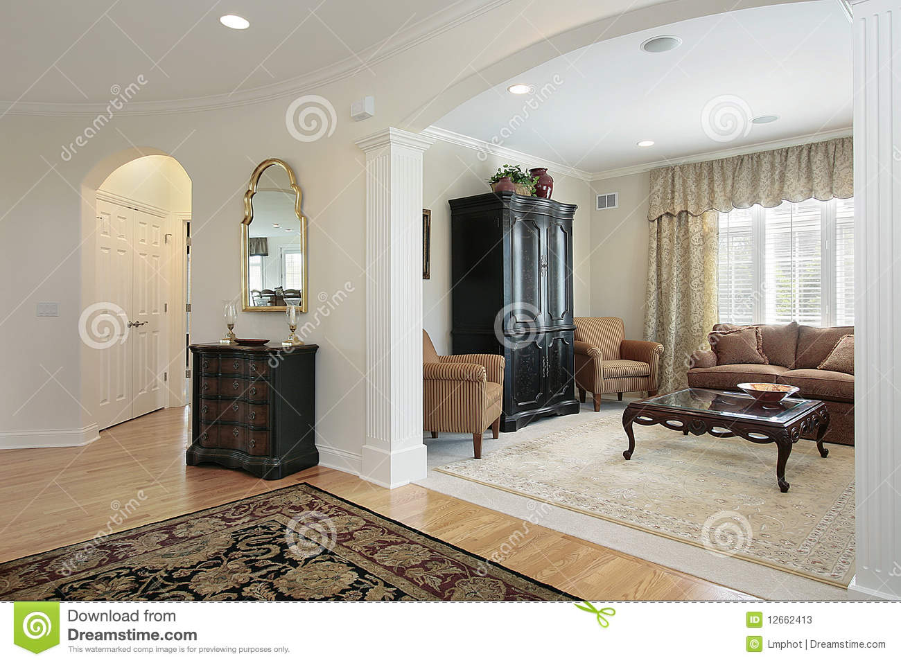 What Is Foyer Room : Living room view from foyer stock photos image