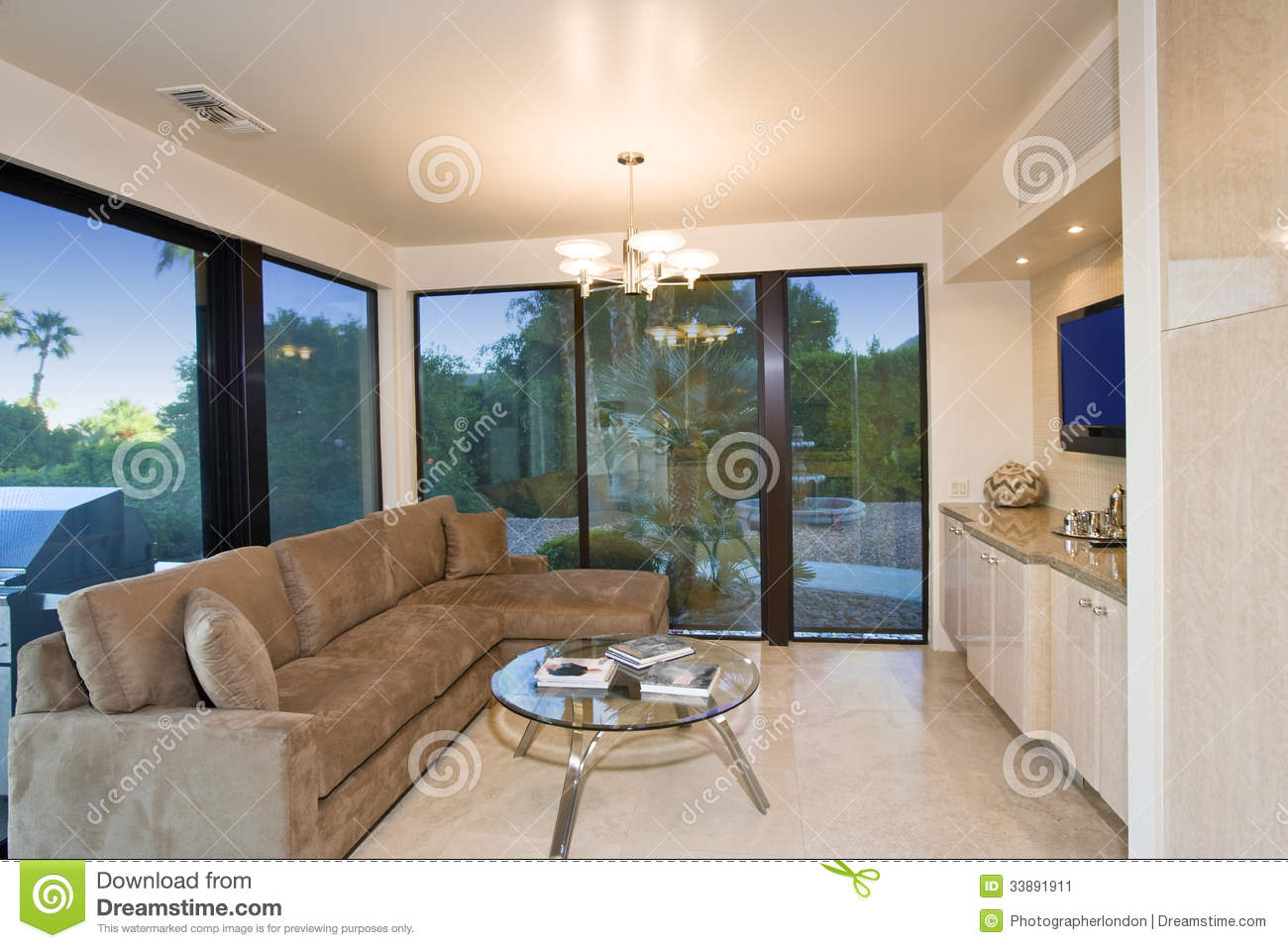 Living Room View modern living room with view of patio royalty free stock image